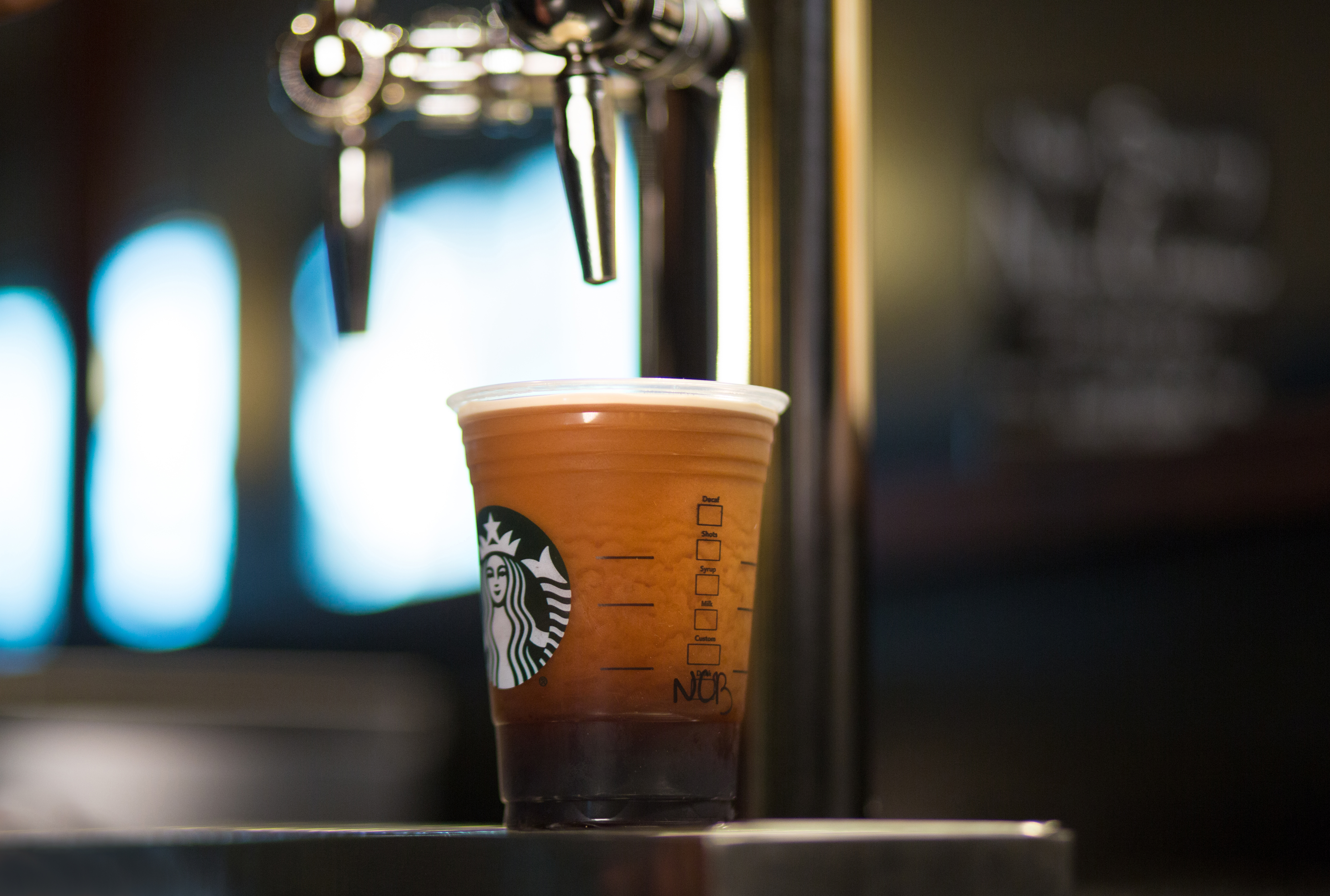 Starbucks Nitro Cold Brew photographed at the Olive Way Starbucks store in Seattle. Photographed on Tuesday, May 24, 2016.