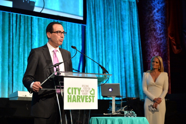 Heather Mnuchin and Steven Mnuchin speak onstage City Harvest: An Event Of Practical Magic in New York City