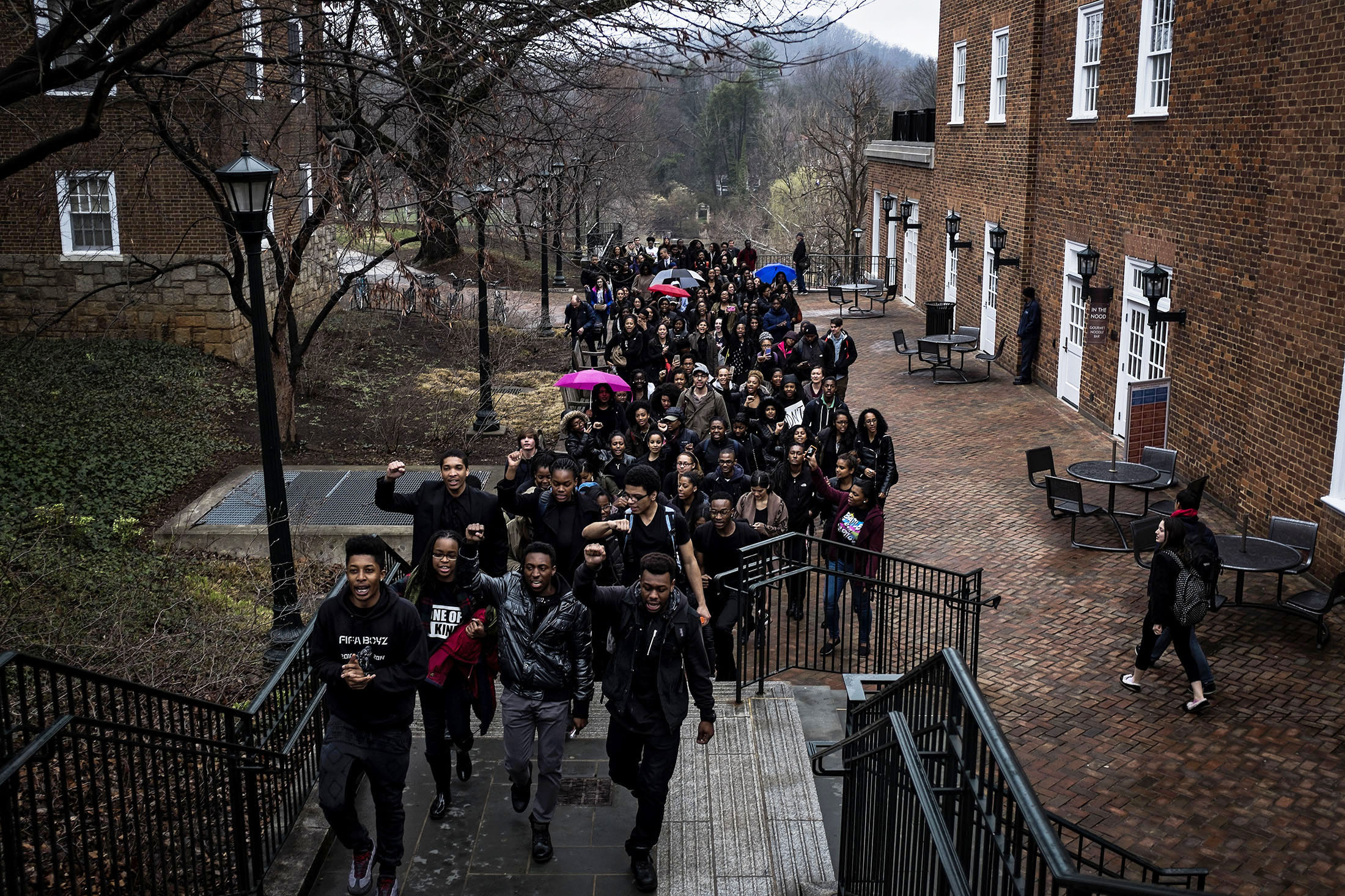 Students protest at the University of Virginia following the arrest by ABC police of student Martese Johnson outside a bar in Charlottesville, Va. on March 20, 2015.