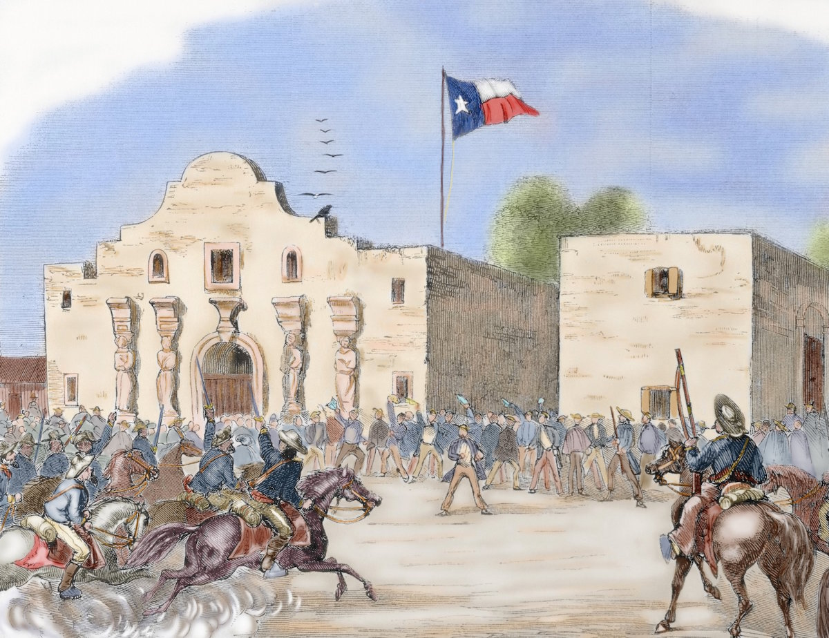 An illustration of the Texas State Flag waving over The Alamo, San Antonio. Engraving from  Harper's Weekly,  1861.