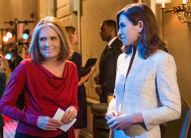 Gloria Steinem, left, as herself and Julianna Margulies, right, as Alicia Florrick.