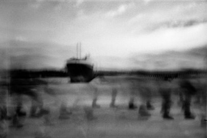 Refugees at the port in Augusta, Italy after arriving, June 20, 2015. This photo was taken with the pinhole camera 'Pinolina' .