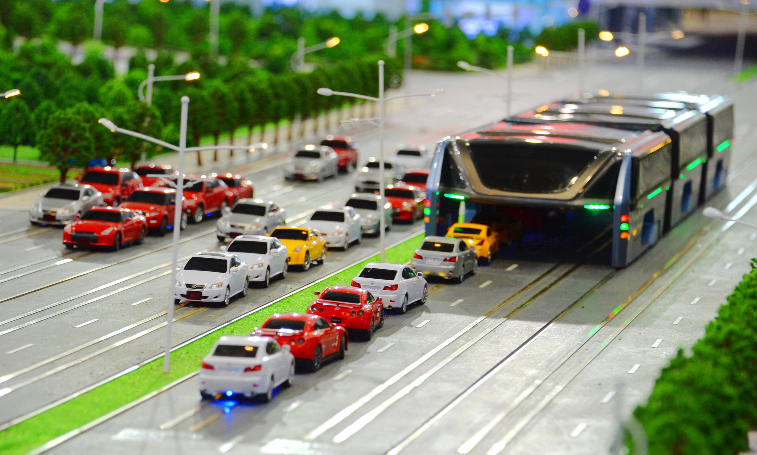 A model of the 'Transit Elevated Bus' is on display during the 19th China Beijing International High-tech Expo (CHITEC) in Beijing, China, May 19, 2016.