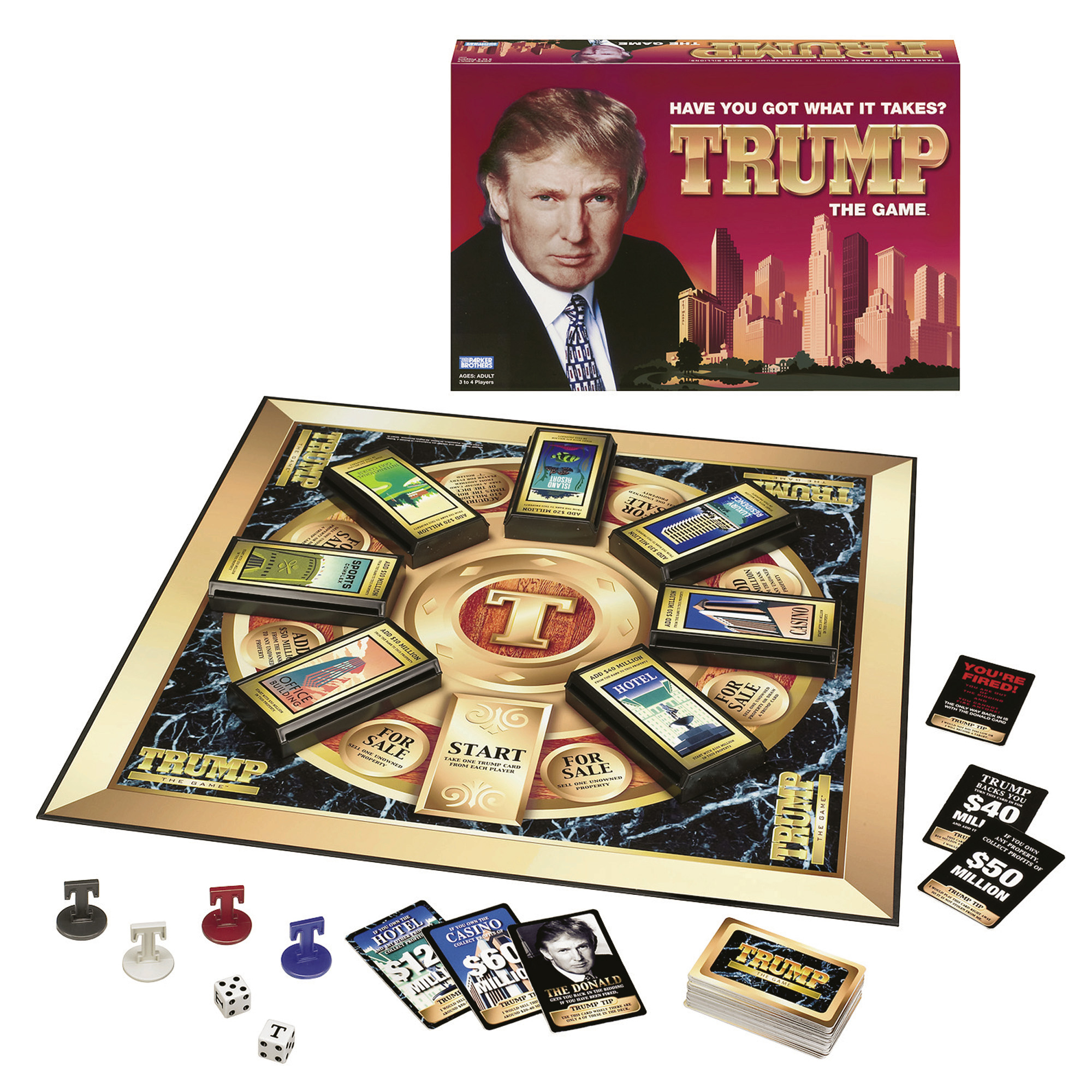 This is a Hasbro Inc., undated handout photo showing the new board game Trump. Donald Trump is lending his name to a new board game marketed by Pawtucket-based Hasbro Inc., the nation's second largest toymaker. It's on sale now and retails for about $24.99, according to Hasbro. (AP Photo/Hasbro Inc.)