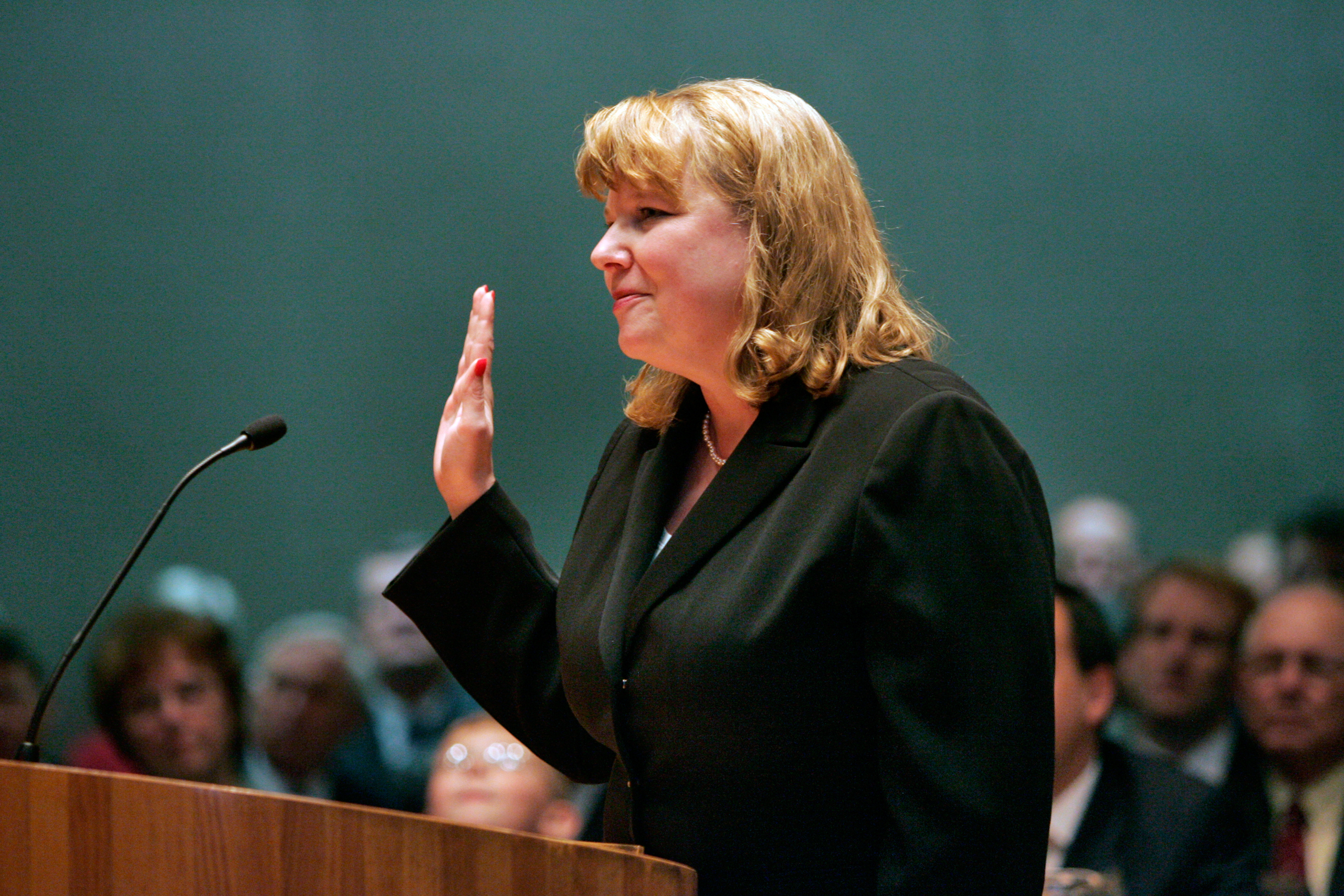 FILE - In this March 13, 2006 file photo, Allison Eid is sworn in as chief justice of the Colorado Supreme Court in Denver. Presumptive Republican presidential nominee Donald Trump has released a list of 11 potential Supreme Court justices he plans to vet to fill the seat of late Justice Antonin Scalia. (AP Photo/Linda McConnell, Pool, File)