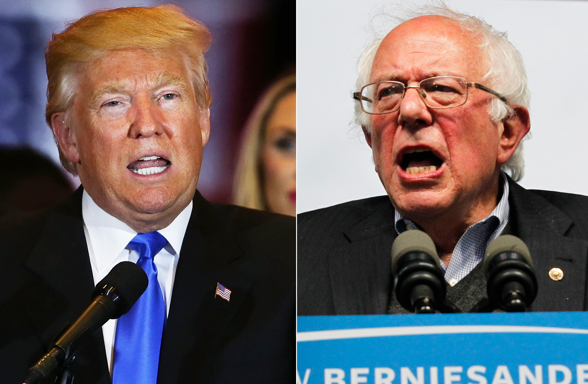 From left: Donald Trump on May 3, 2016 in New York City and Bernie Sanders on May 3, 2016 in Louisville, Ky.