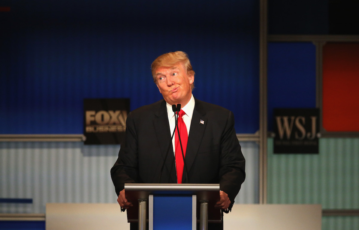Donald Trump during the Republican Presidential Debate sponsored by Fox Business and the Wall Street Journal at the Milwaukee Theatre Nov. 10, 2015 in Milwaukee