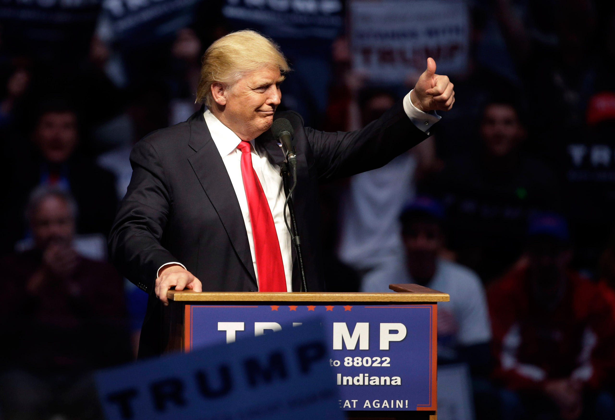 Republican presidential candidate Donald Trump gestures during a campaign stop in Indianapolis on April 27, 2016.