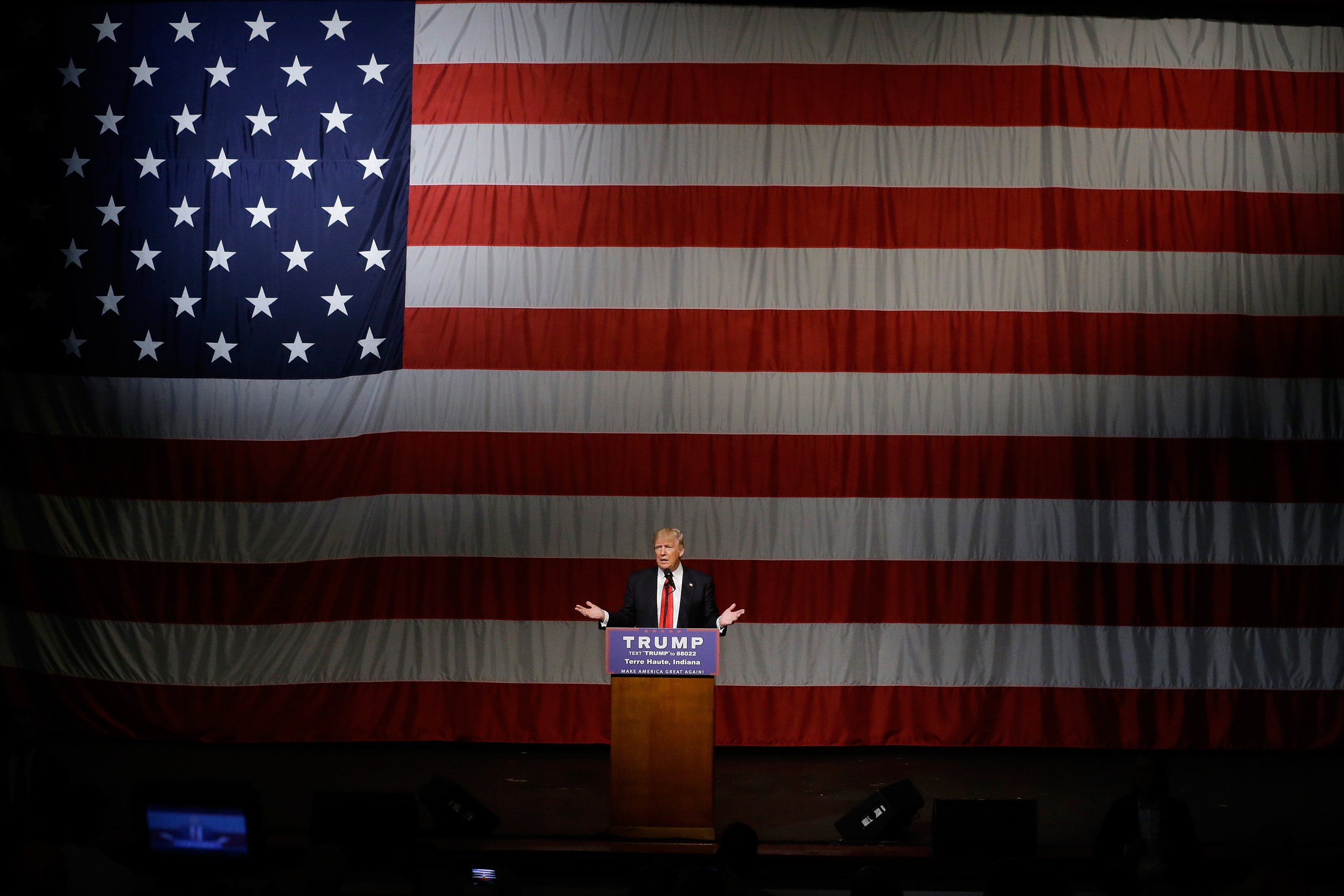 Republican presidential candidate Donald Trump speaks during a campaign rally at the Indiana Theater in Terre Haute, Ind., on May 1, 2016.