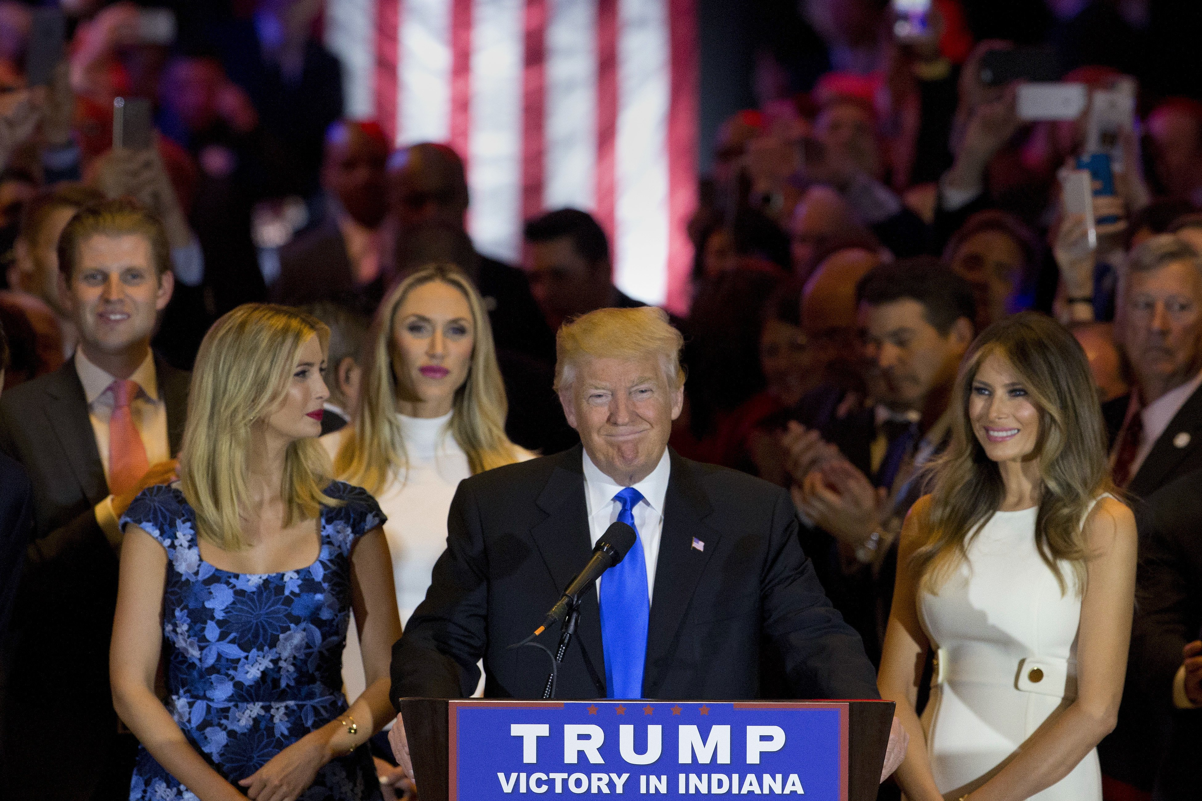 Republican presidential candidate Donald Trump smiles as he speaks during a primary night news conference on May 3, 2016, in New York.