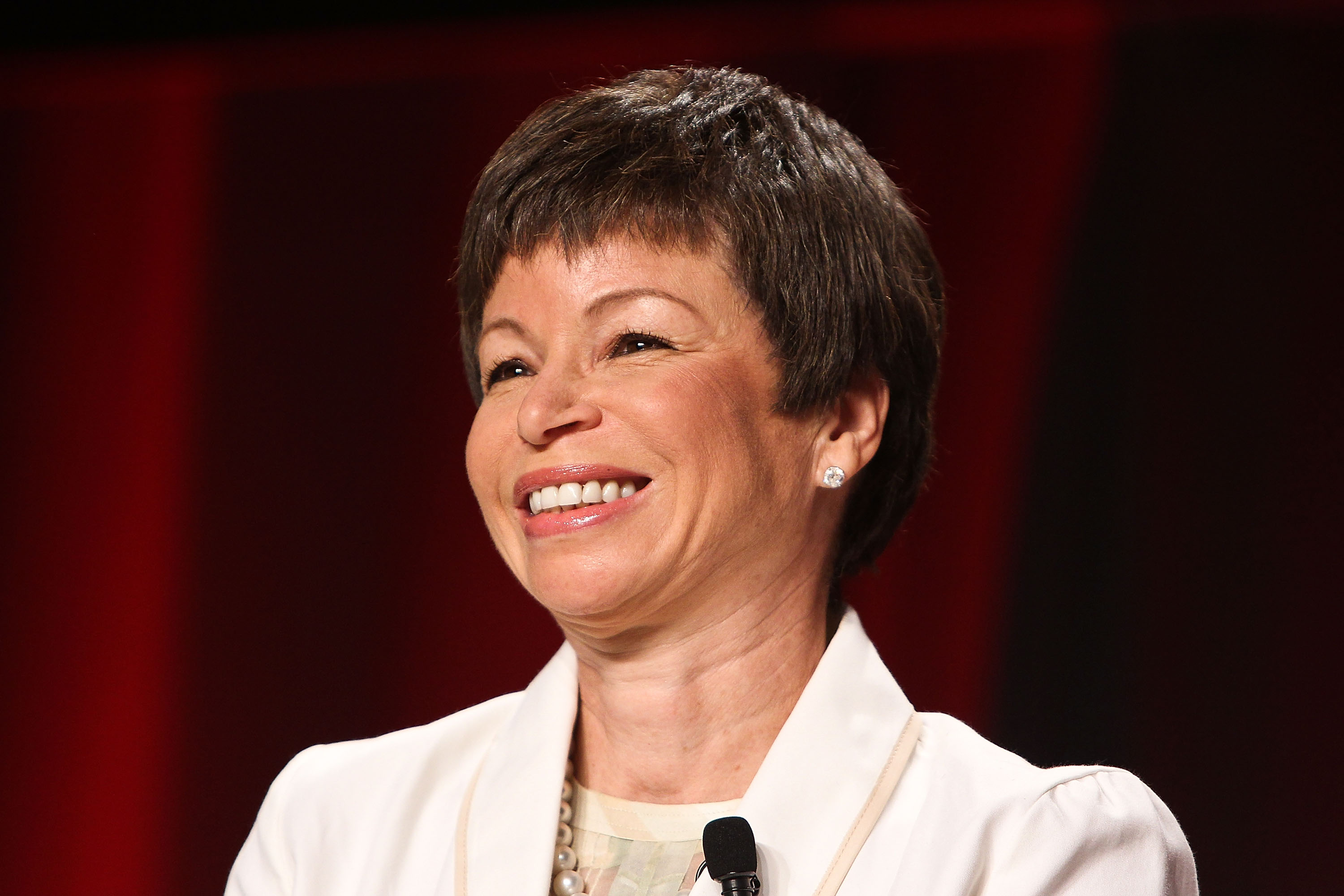 White House senior adviser Valerie Jarrett participates in a panel discussion during the 2012 Federal Partners Bullying Prevention summit at the Marriott Wardman Park Hotel on August 7, 2012 in Washington, DC.
