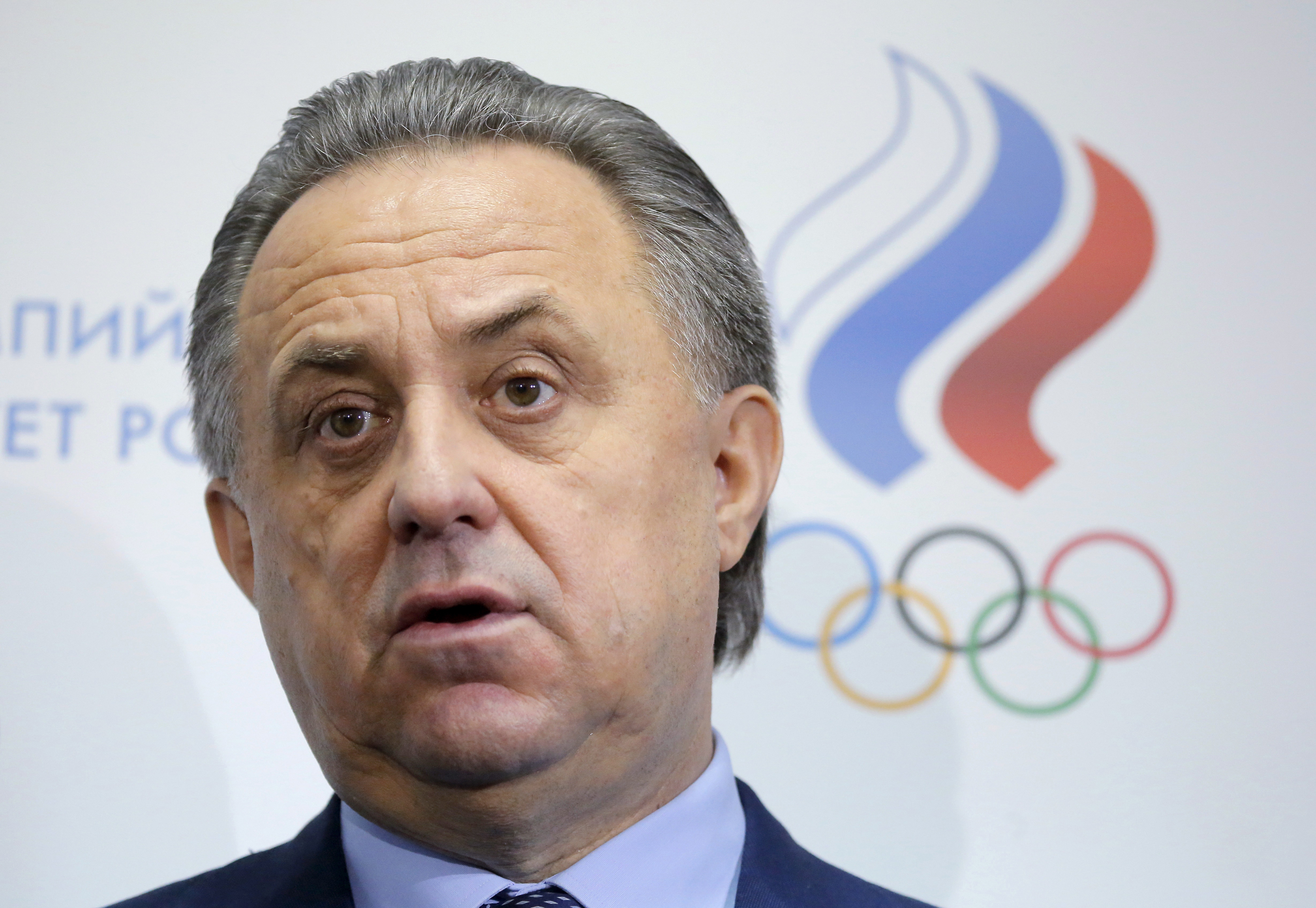 Russian Sports Minister Vitaly Mutko speaks during a news conference in Moscow on Jan. 16, 2016.