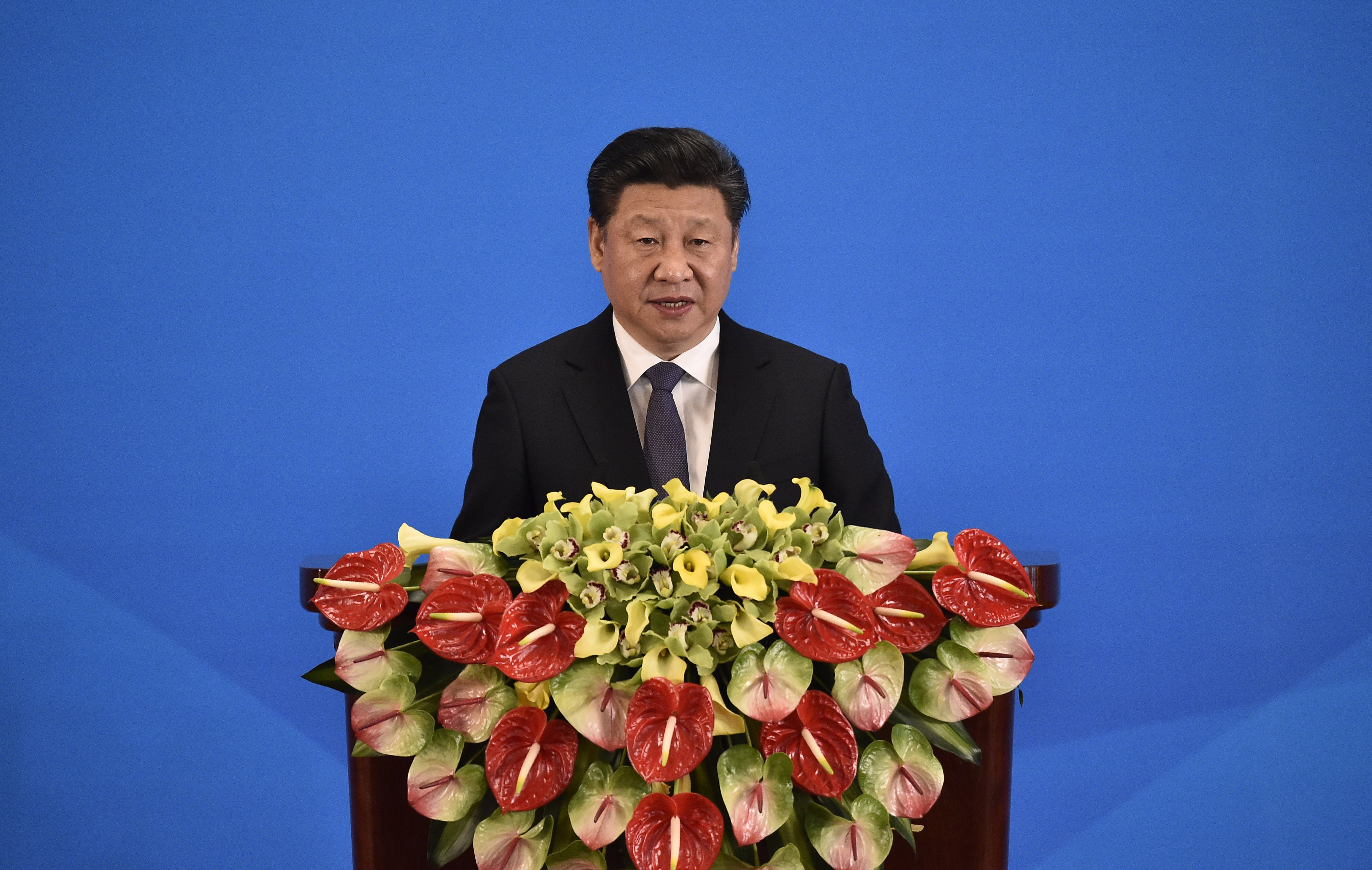 China's President Xi Jinping delivers a speech at the opening ceremony of the fifth regular foreign ministers' meeting of the Conference on Interaction and Confidence Building Measures in Asia (CICA)  at the Diaoyutai State Guesthouse on April 28, 2016 in Beijing, China.