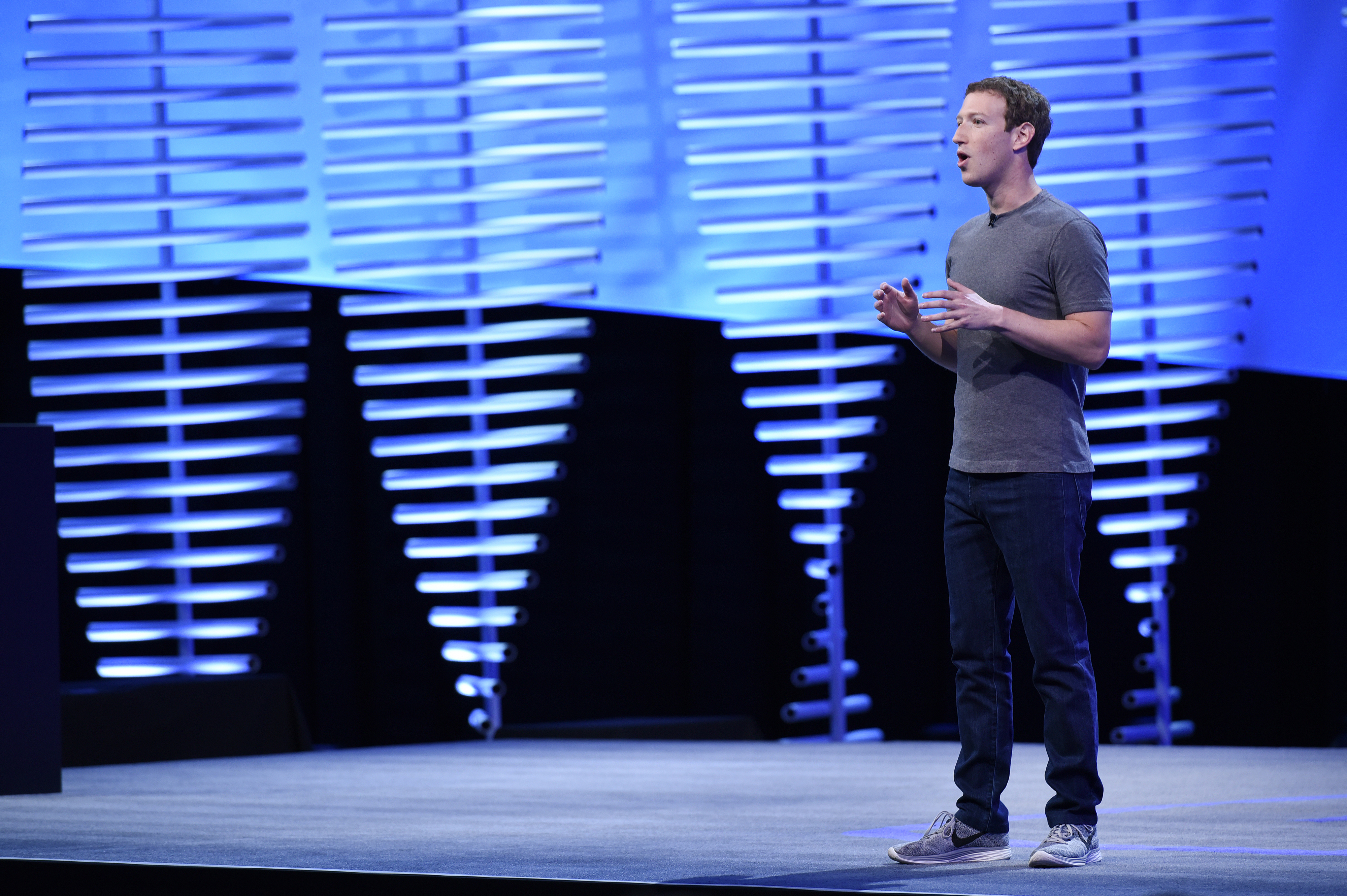 Mark Zuckerberg, founder and chief executive officer of Facebook Inc., speaks during the Facebook F8 Developers Conference in San Francisco on April 12, 2016.