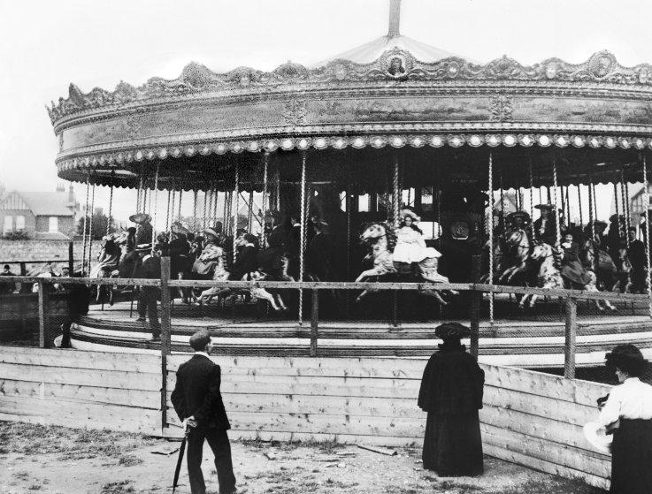 A Roundabout at the Guinness Show in Ballsbridge, Dublin, circa 1904.