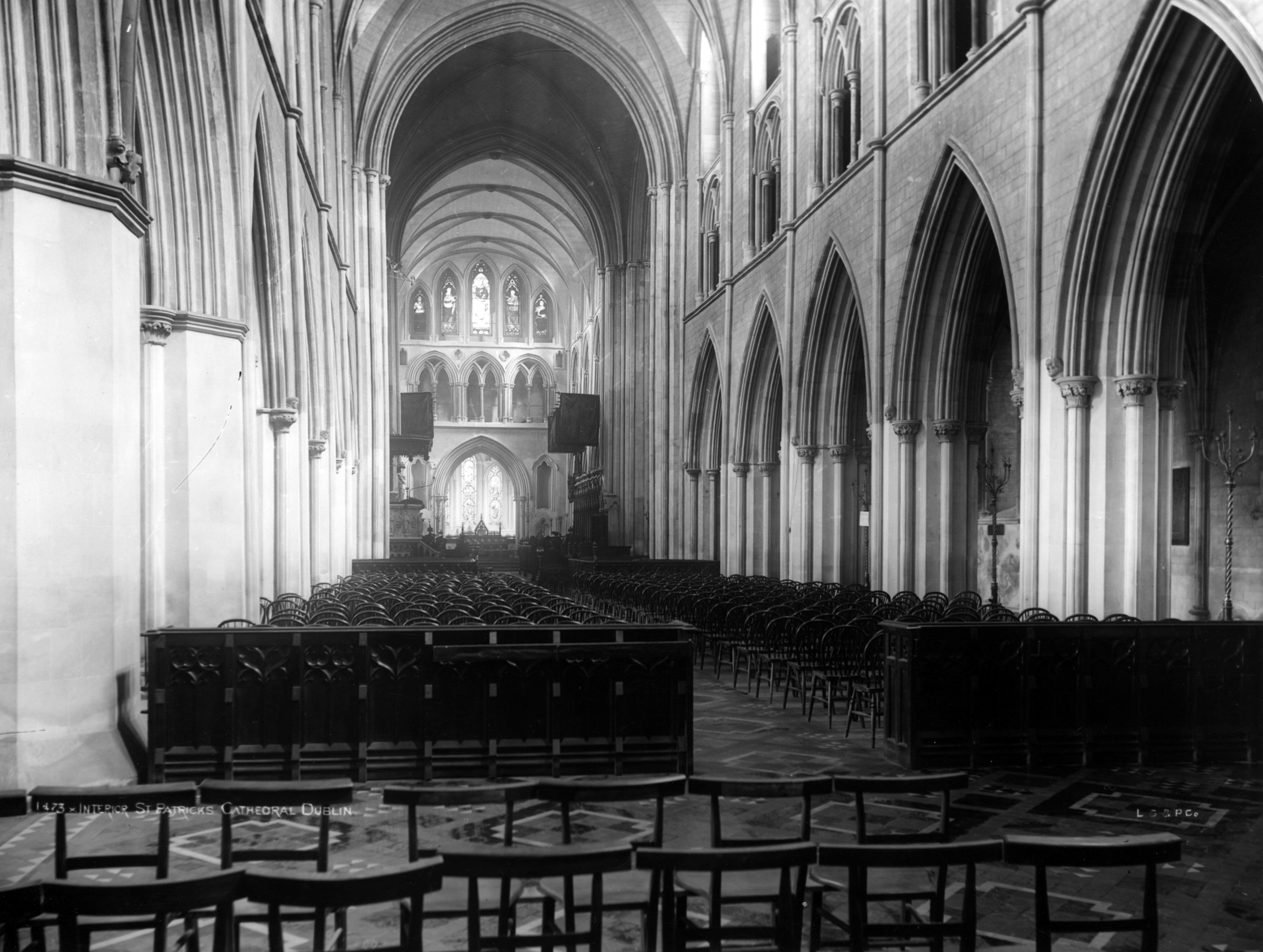 The interior of St Patrick's Cathedral in Dublin, circa 1910.