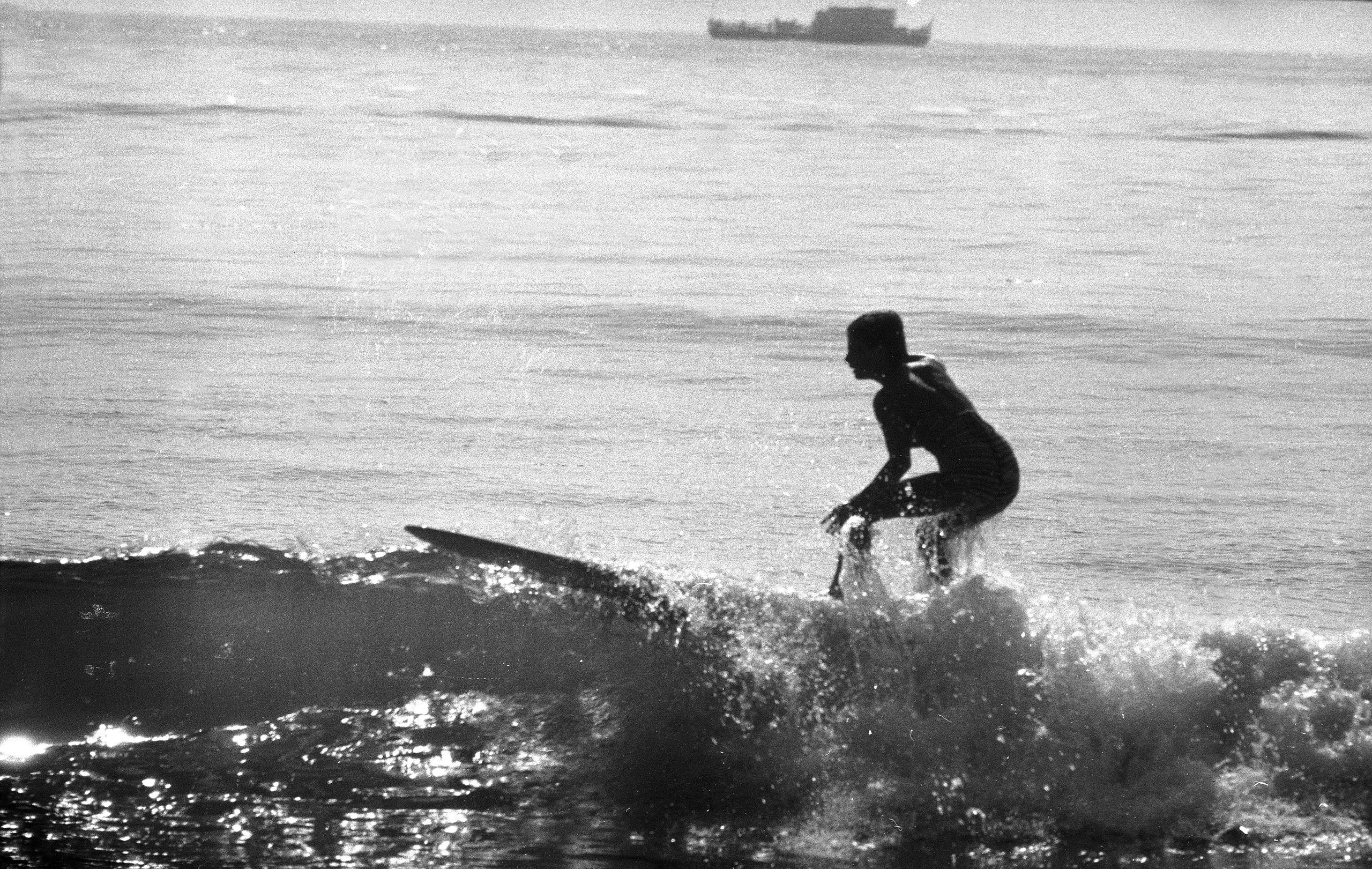 Kathy Kohner (aka Gidget) surfing, 1957.