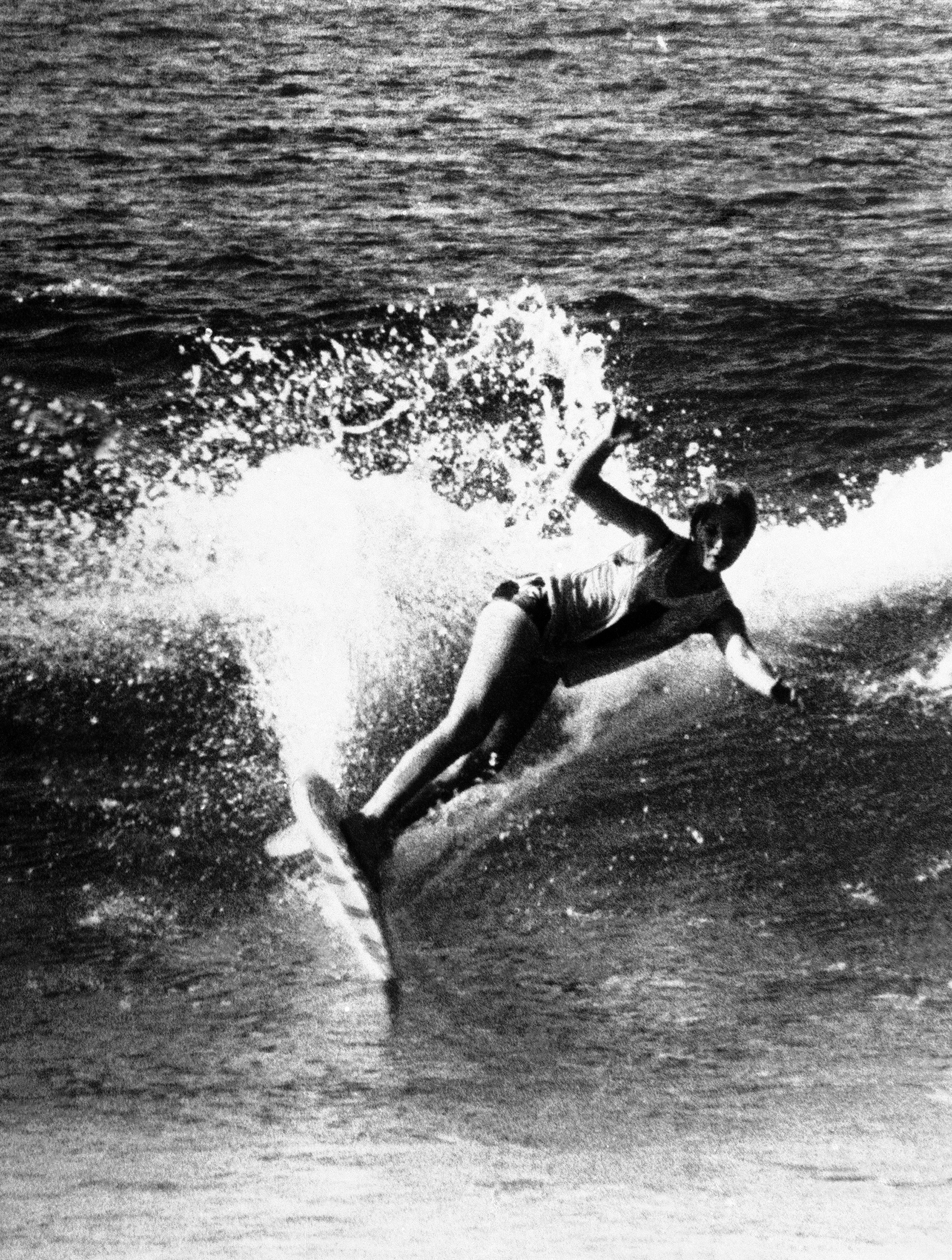 Linda Benson of the United States in competition for the women's title of the World Surfboard Riding Championships staged at Sydney's Manley Beach, Australia on May 17, 1964.