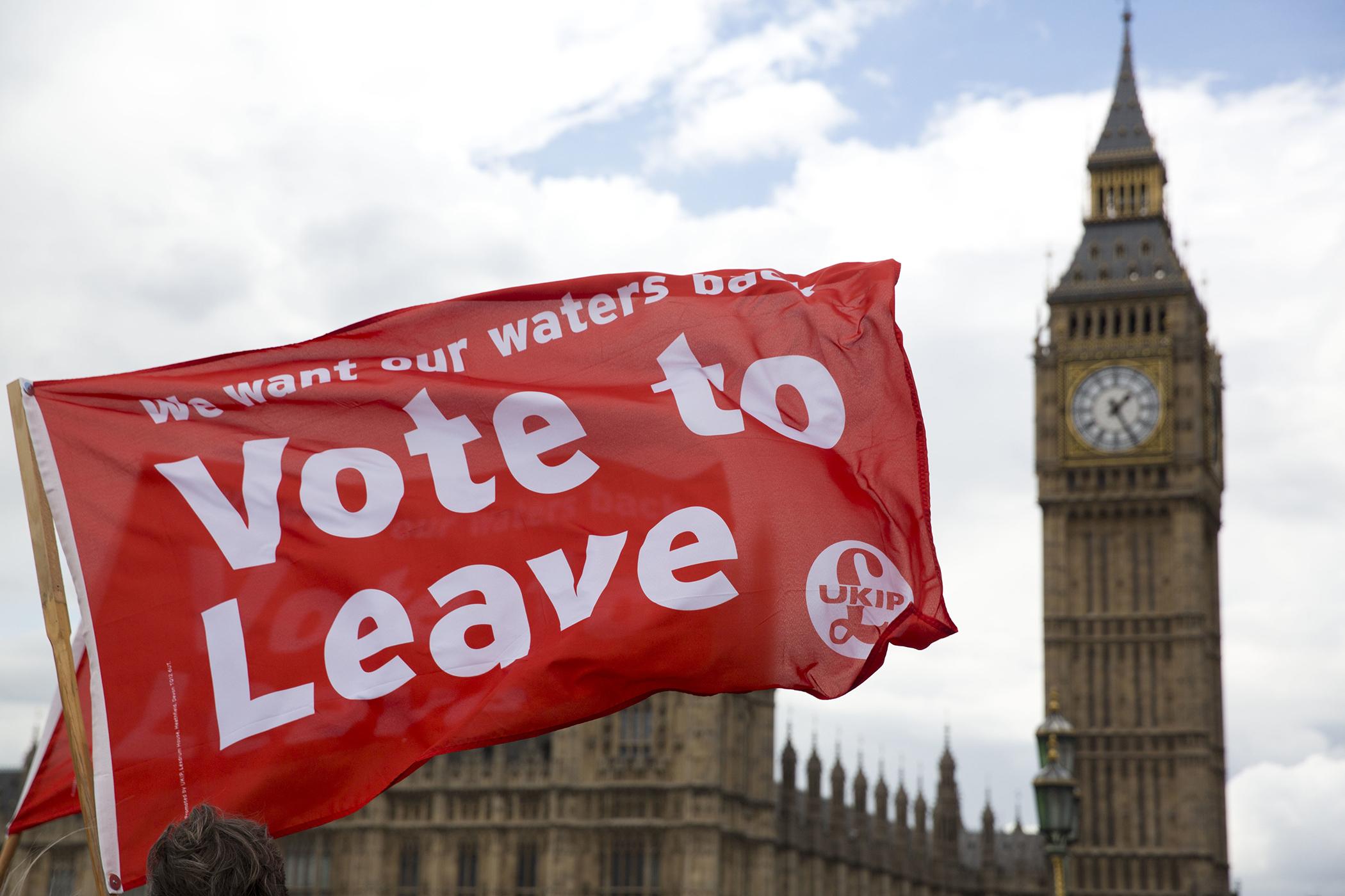 Brexit supporters' flag during  demonstration on Westminster Bridge.
