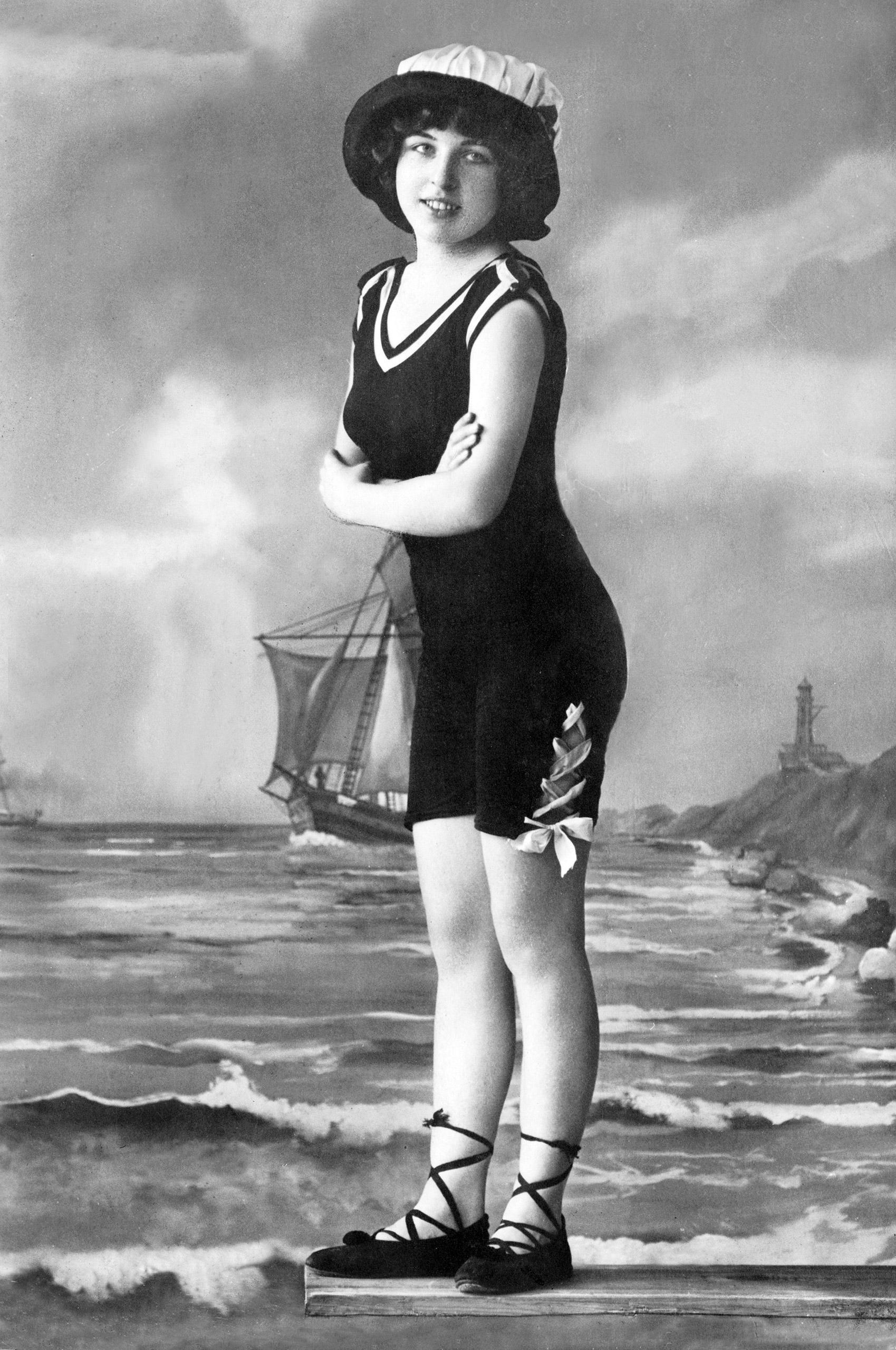 A Girl in A Bathing Costume, circa 1909.