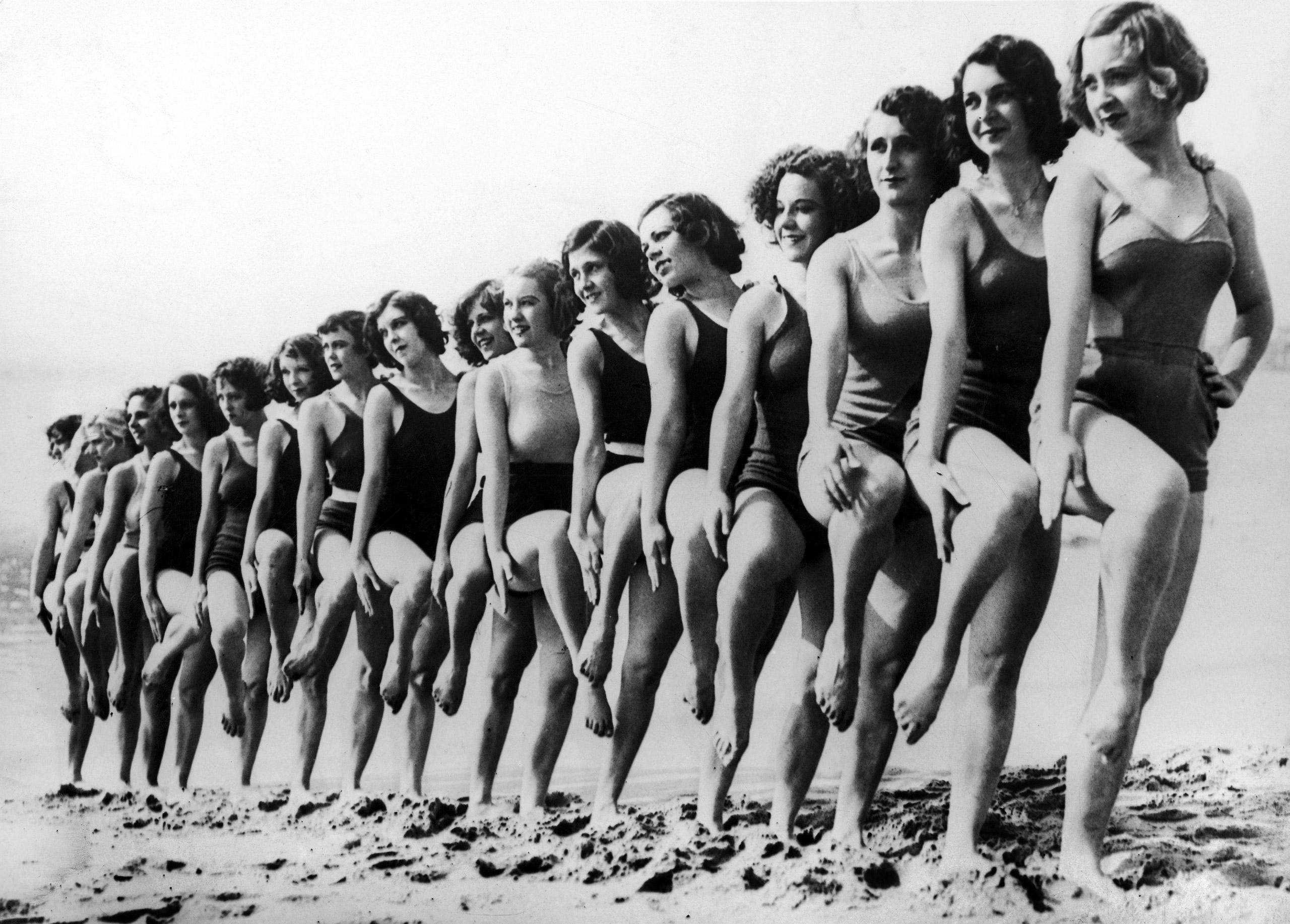 The Latest In swimwear on a beach In California, circa 1934.