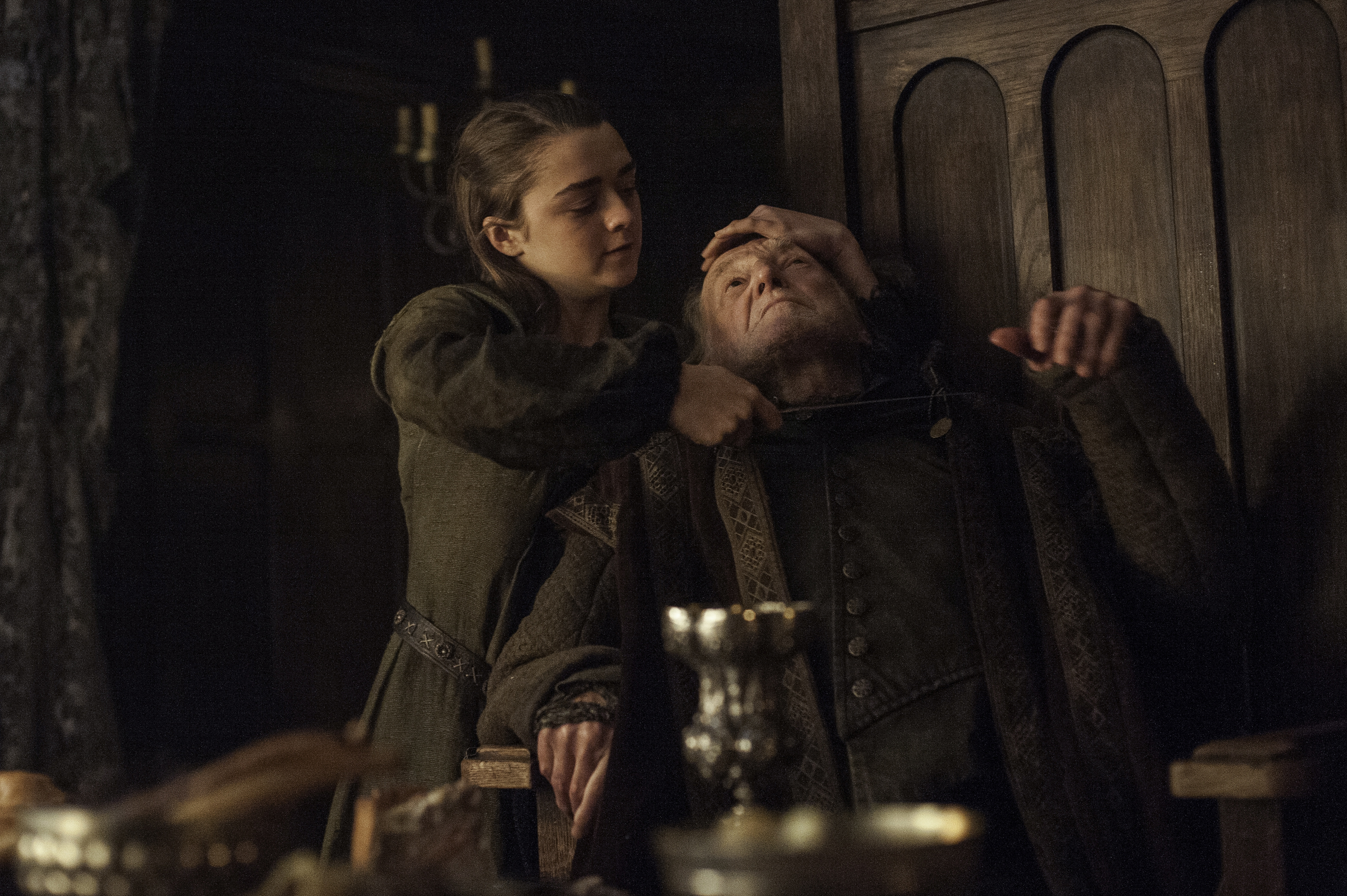 Maisie Williams and David Bradley on Game of Thrones