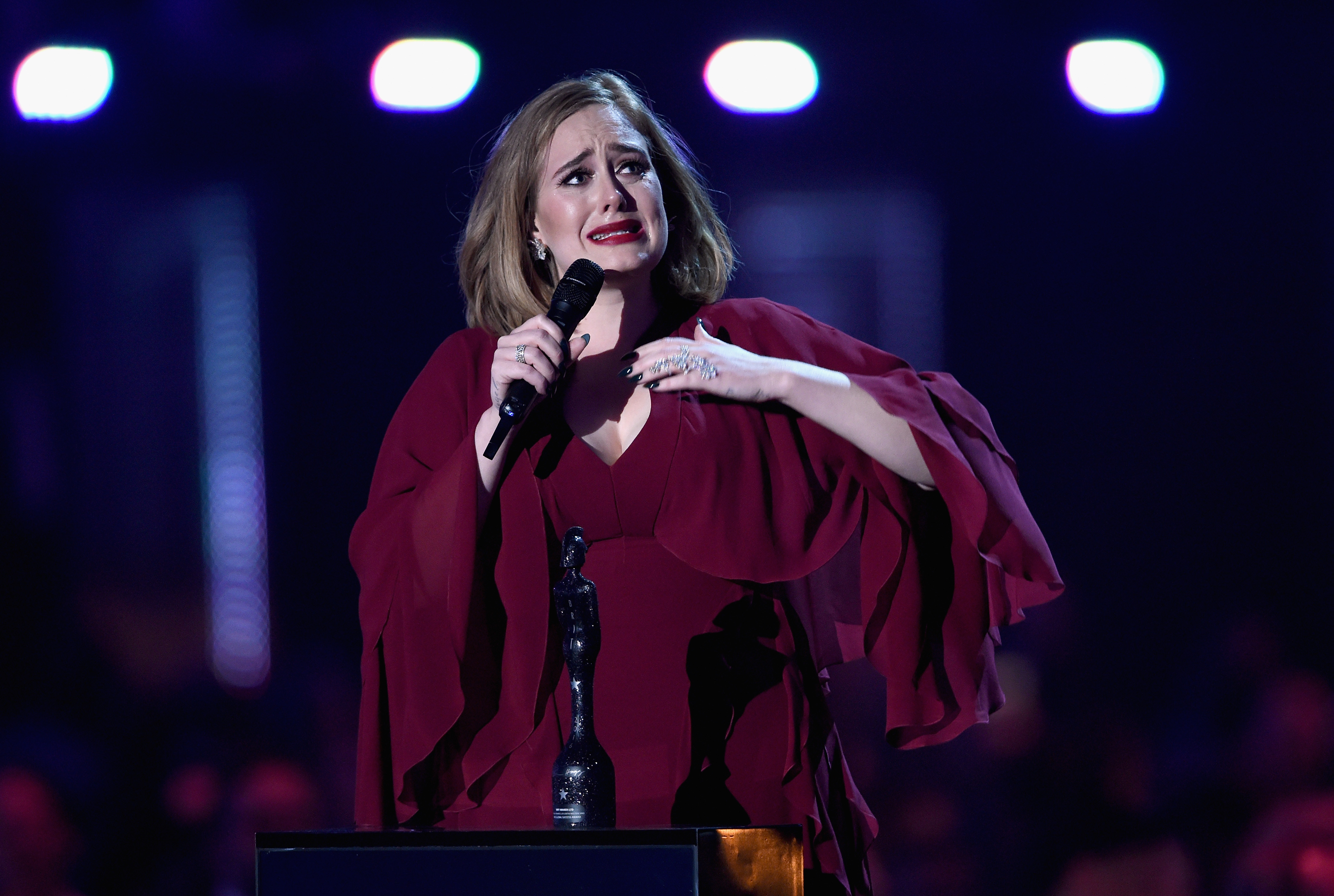 Adele demonstrates how sometimes, even she needs to hold onto her heart and cry.