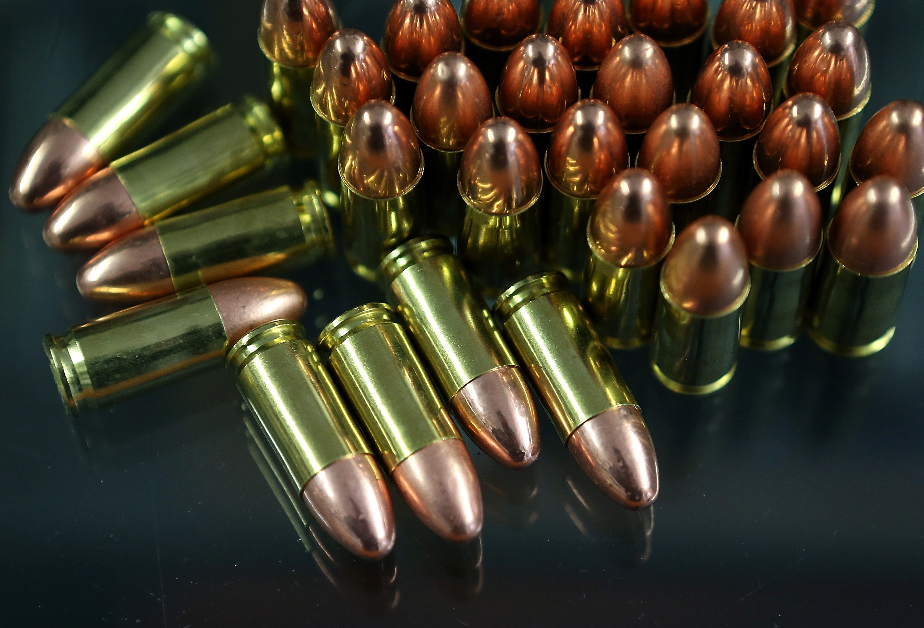 Nine millimeter bullets sit on the counter at Sportsmans Arms on April 2, 2013 in Petaluma, California.