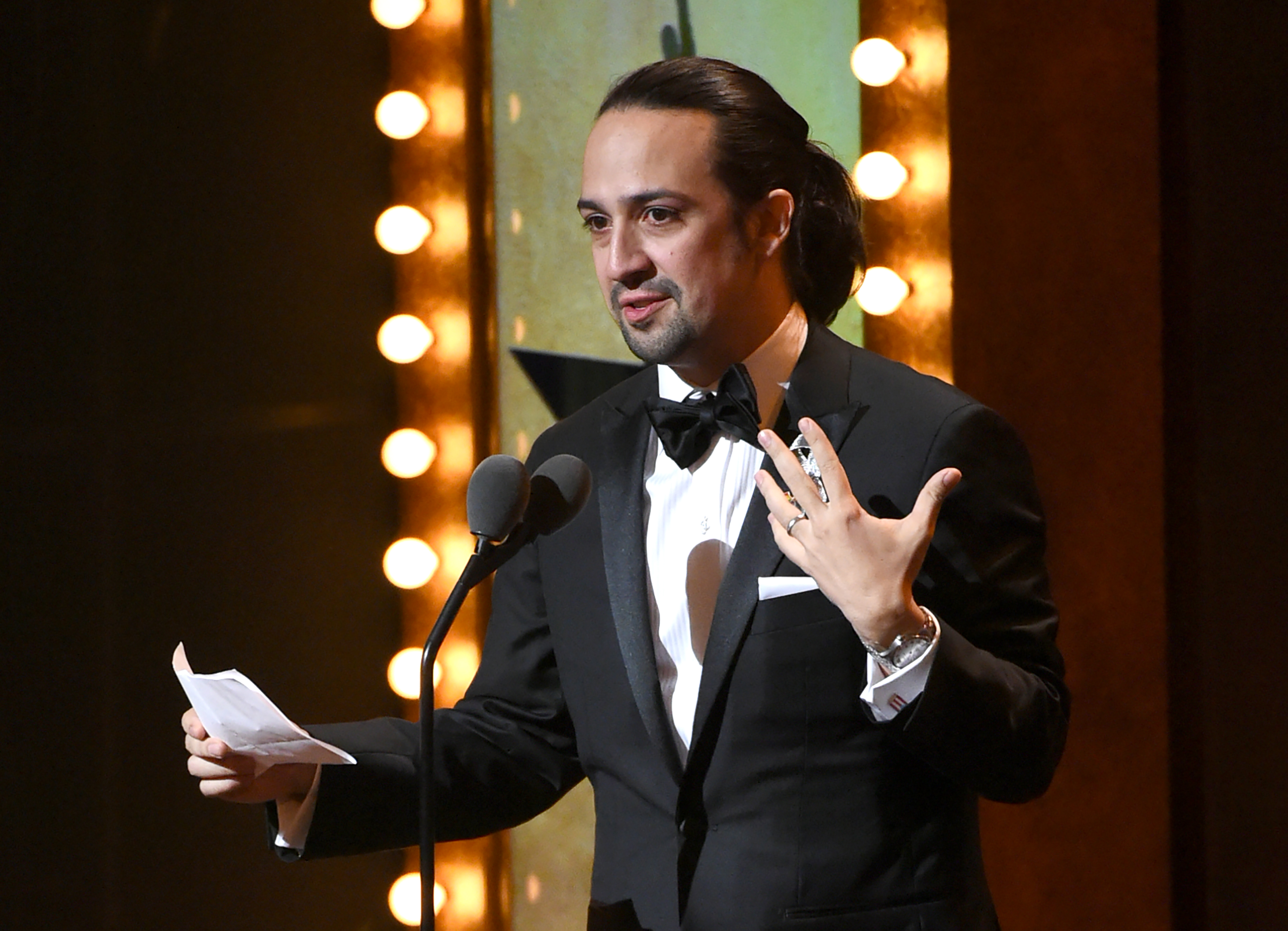 Lin-Manuel Miranda accepts the award for best original  score for   Hamilton  at the Tony Awards at the Beacon Theatre on Sunday, June 12, 2016, in New York