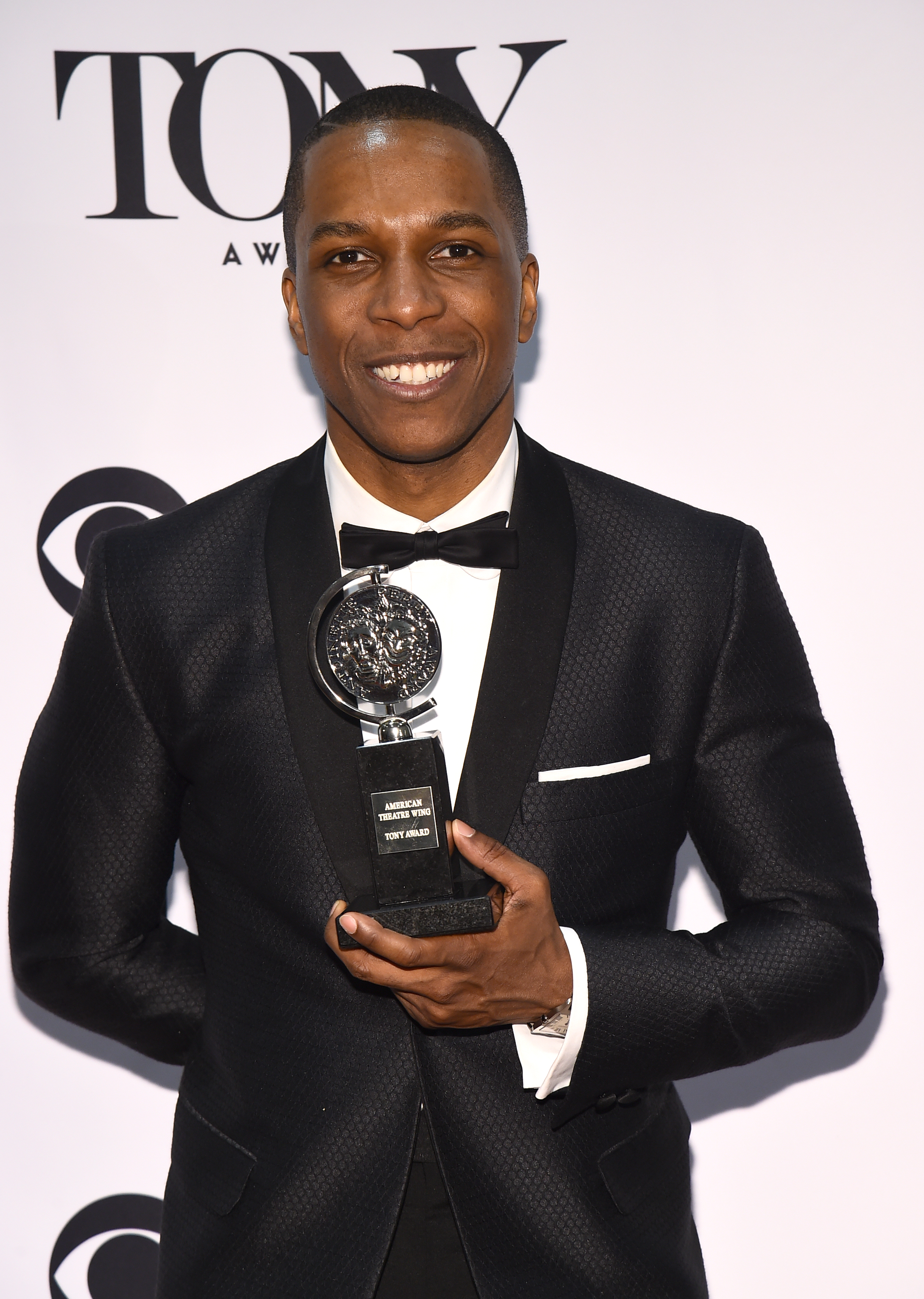 Leslie Odom, Jr., winner of the award for leading actor in a musical for  Hamilton,  poses in the press room at the Tony Awards in New York on Sunday, June 12, 2016