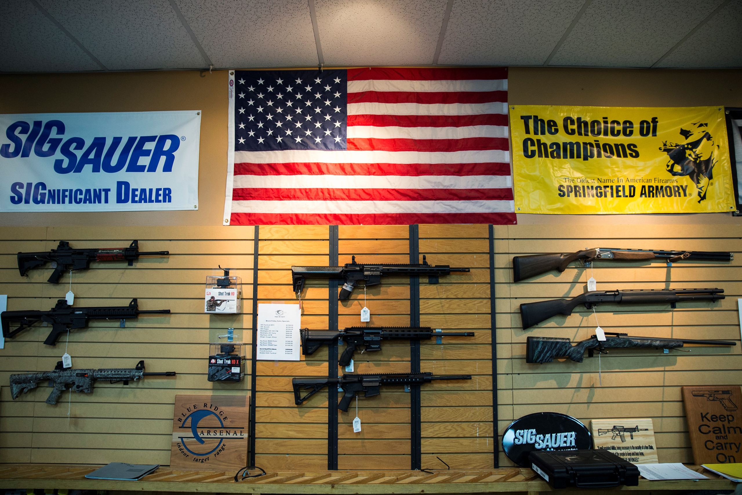 AR-15 style rifles and shotguns for sale at Blue Ridge Arsenal in Chantilly, Va., USA on Jan. 9, 2015.