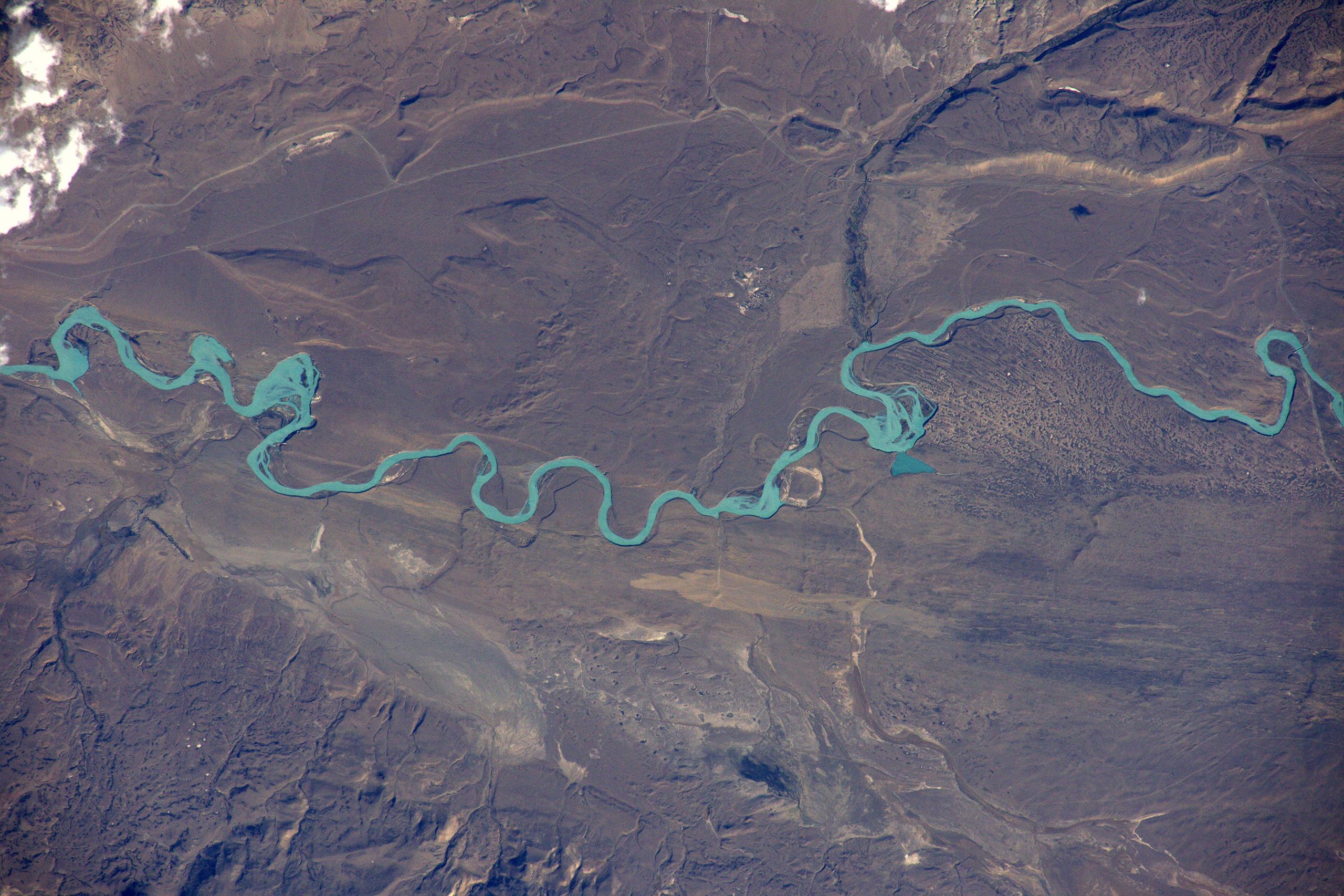 Rio Santa Cruz carries glacial river water into Lago Argentina, Patagonia, March 23, 2016.