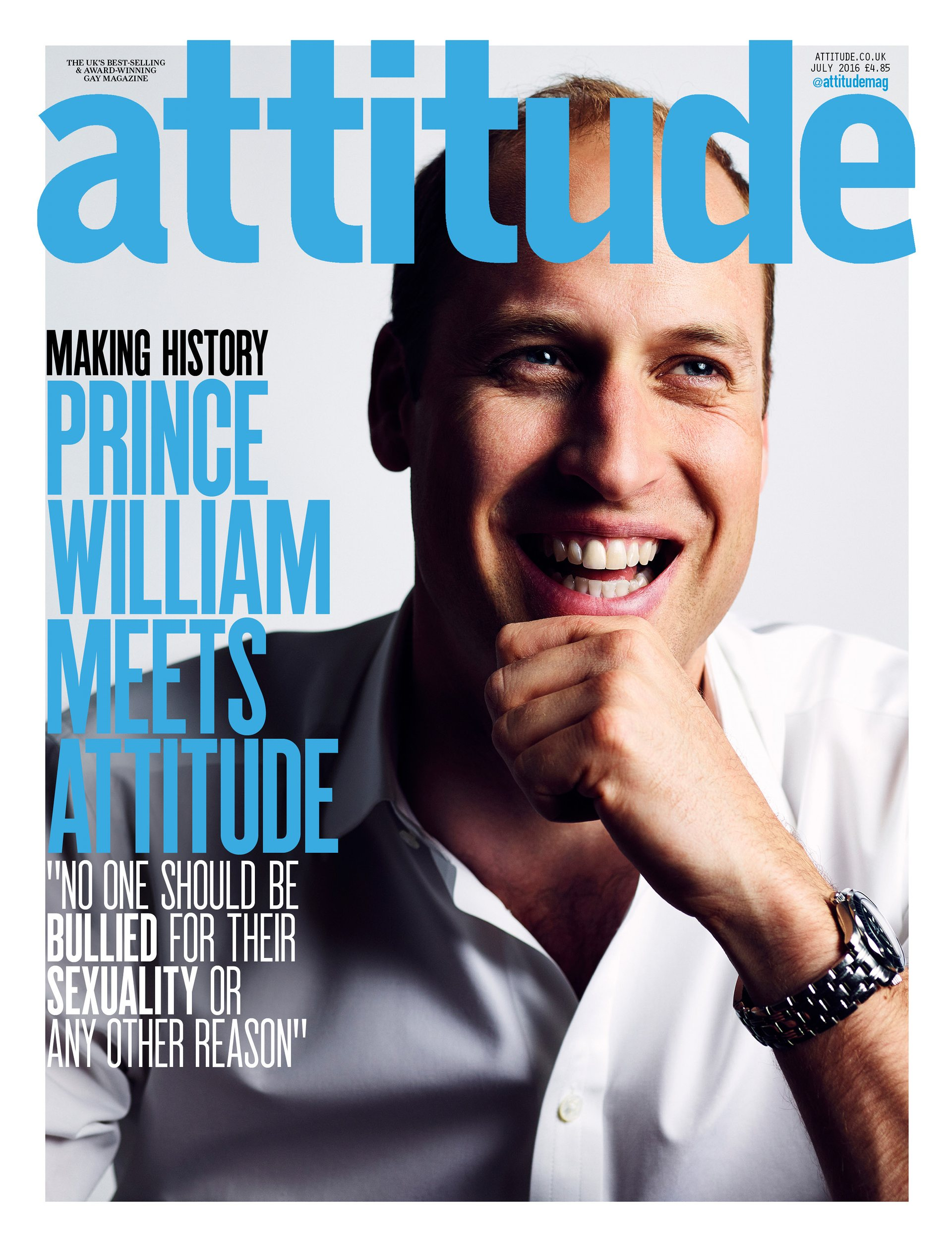 Prince William appears on the cover of the July 2016 issue of Attitude magazine.