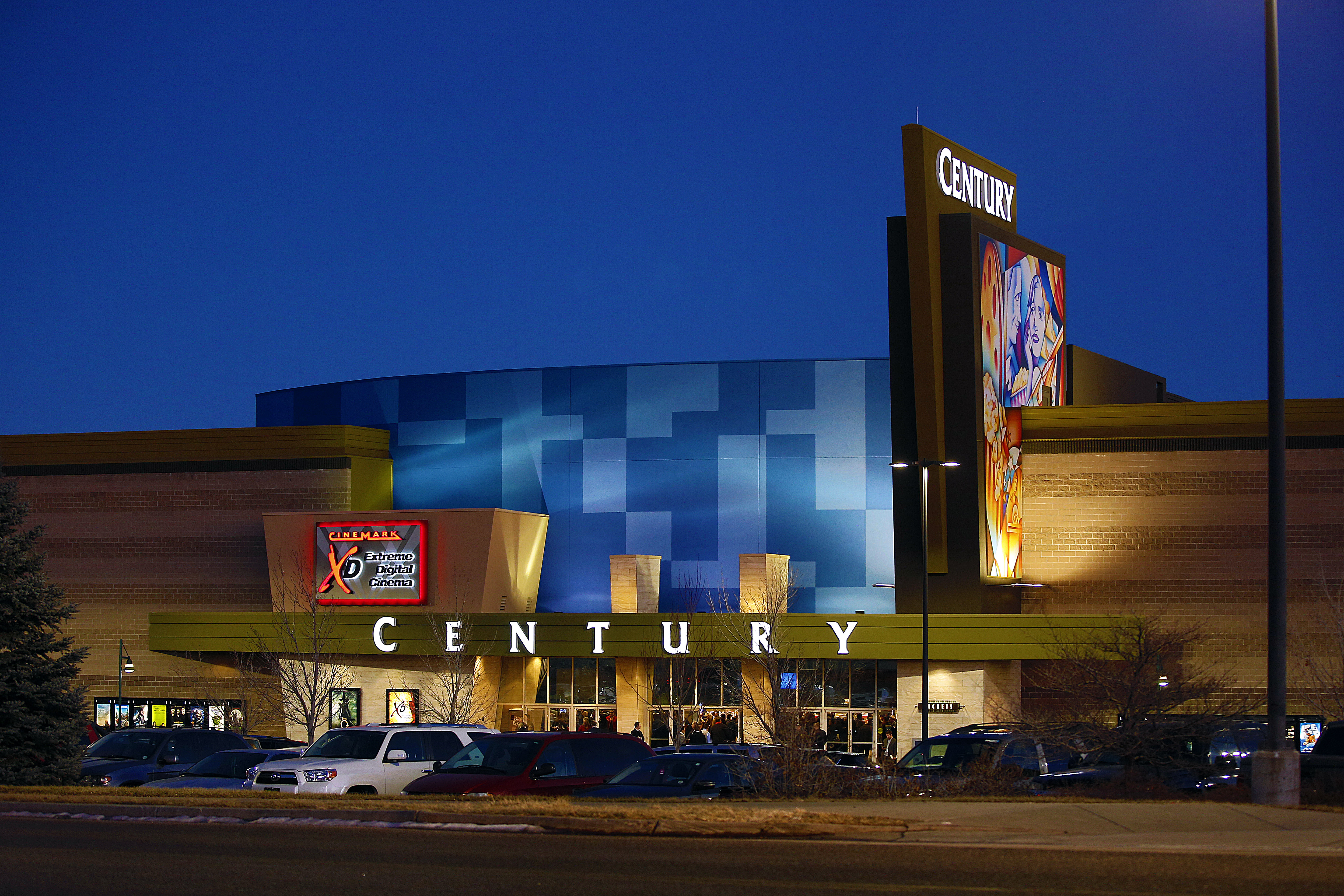 A view of the remodeled exterior facade of the Cinemark Century 16 Theaters in 2013 in Aurora, Colorado. The theater was the site of a mass shooting on July 20, 2012.
