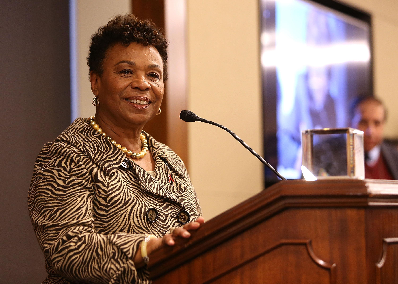 Rep. Barbara Lee (D-CA) accepts the Elizabeth Taylor Legislative Leadership Award at the AIDSWatch 2016 Positive Leadership Award Reception at the Rayburn House Office Building in Washington, D.C., on Feb. 29, 2016.