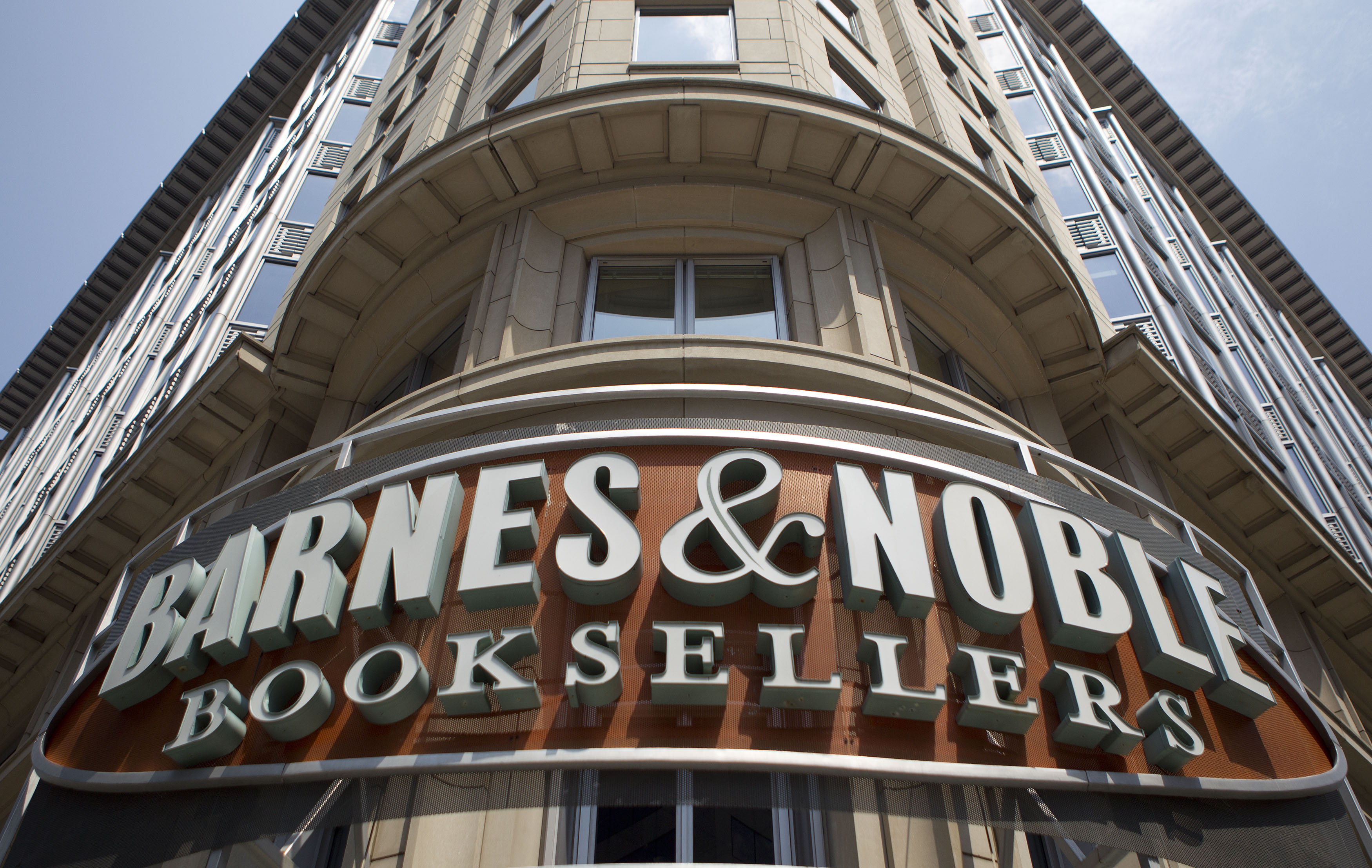 The Barnes & Noble logo hangs outside a store in Washington, D.C., U.S., on Thursday, Aug. 5, 2010.