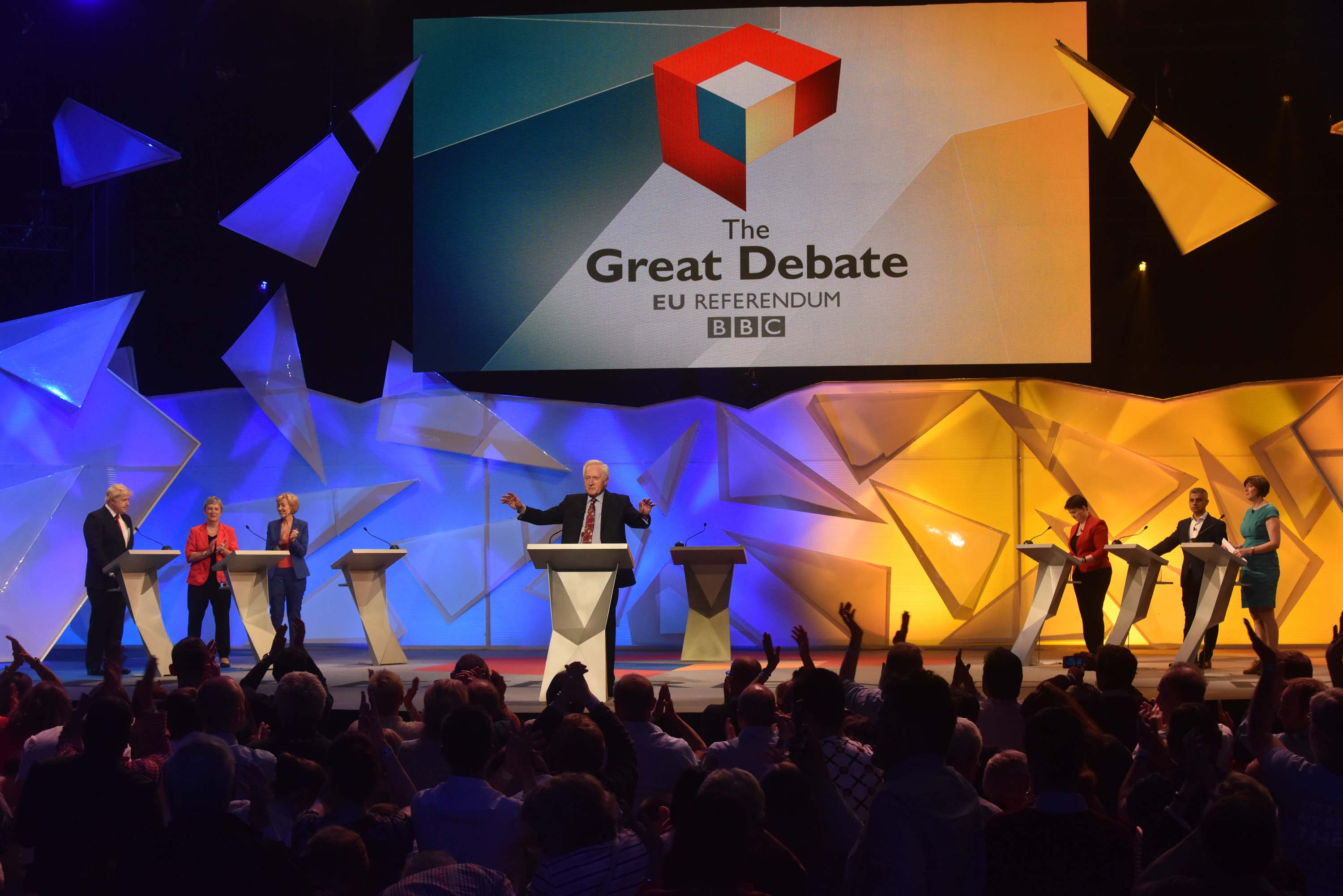 In this handout image provided by the BBC, Boris Johnson, Gisela Stuart, Energy Minister Andrea Leadsom, David Dimbleby (C), Scottish Conservative leader Ruth Davidson, Mayor of London Sadiq Khan and TUC General Secretary Frances O'Grady take part in the EU debate at Wembley Arena on June 21, 2016 in London, England.