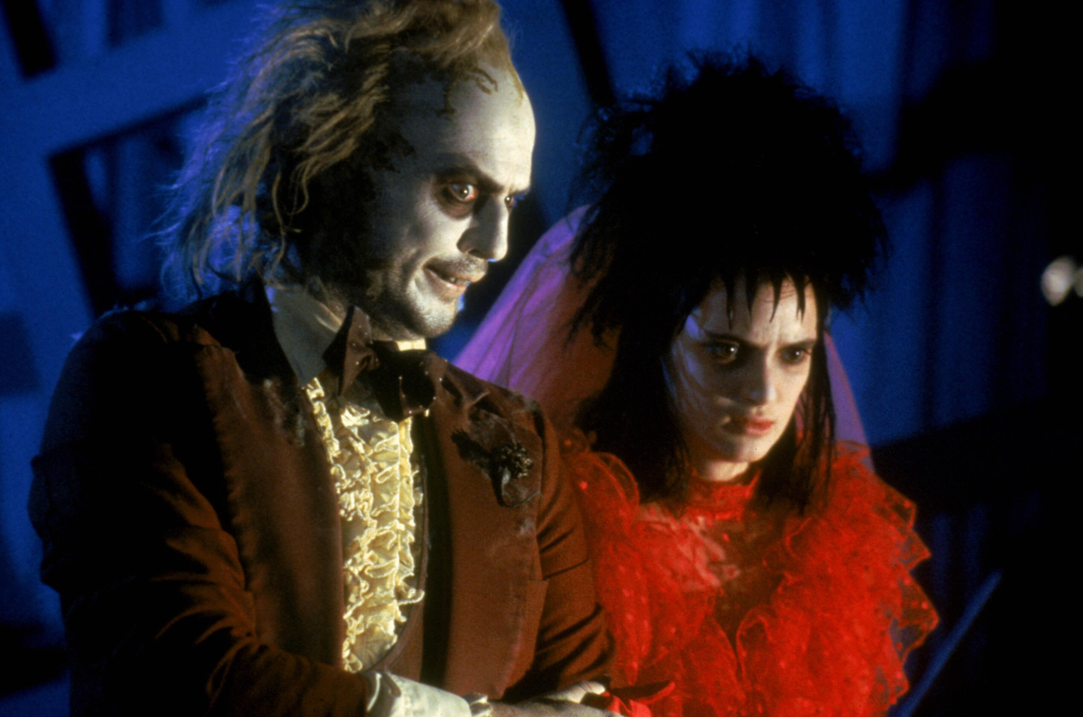 Michael Keaton and Winona Ryder in Beetlejuice in 1988.