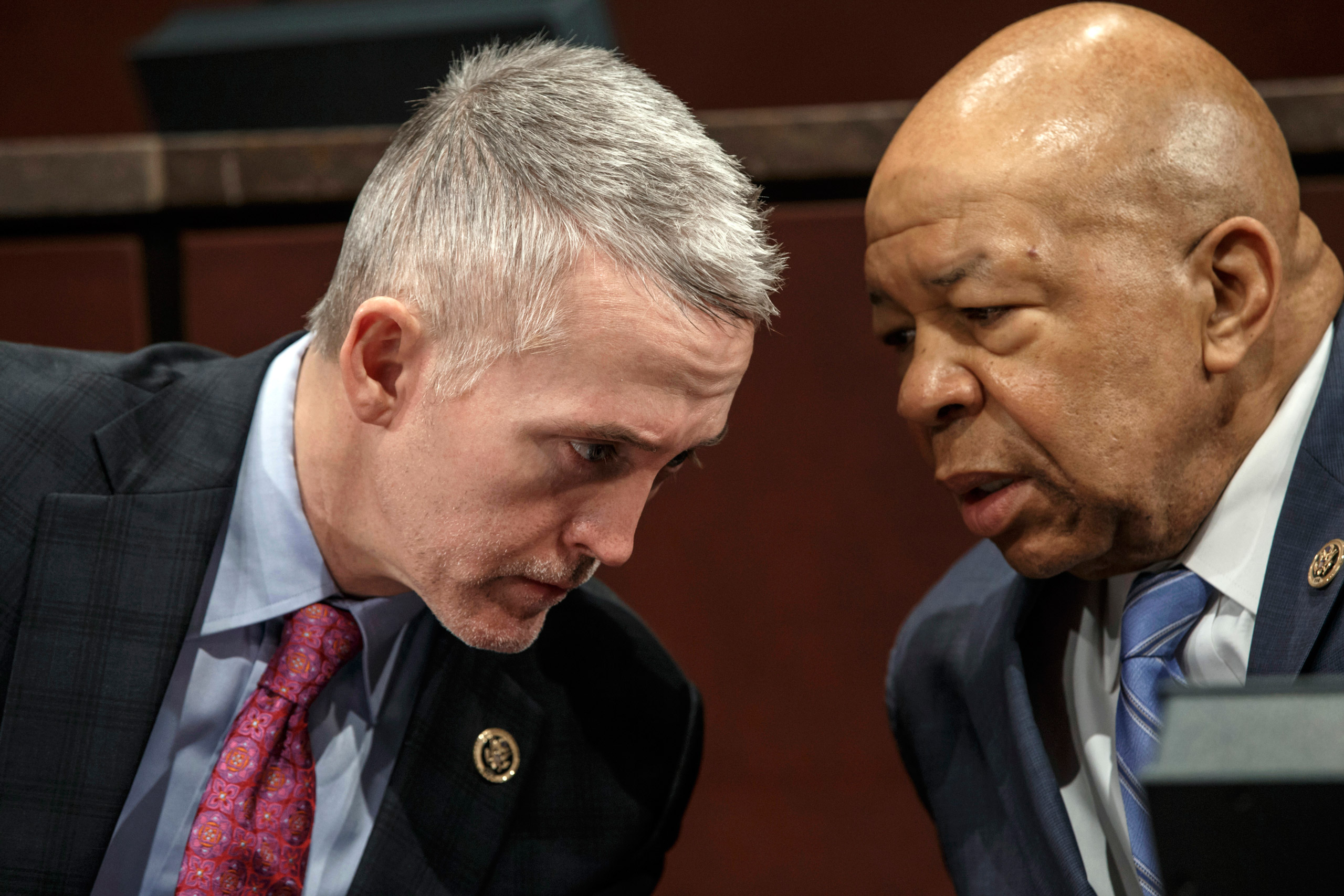 House Benghazi Committee Chairman Rep. Trey Gowdy, R-S.C., left, confers with the committee's ranking member Rep. Elijah Cummings, D-Md., during the committee's hearing on Capitol Hill in Washington. on Jan. 27, 2015.