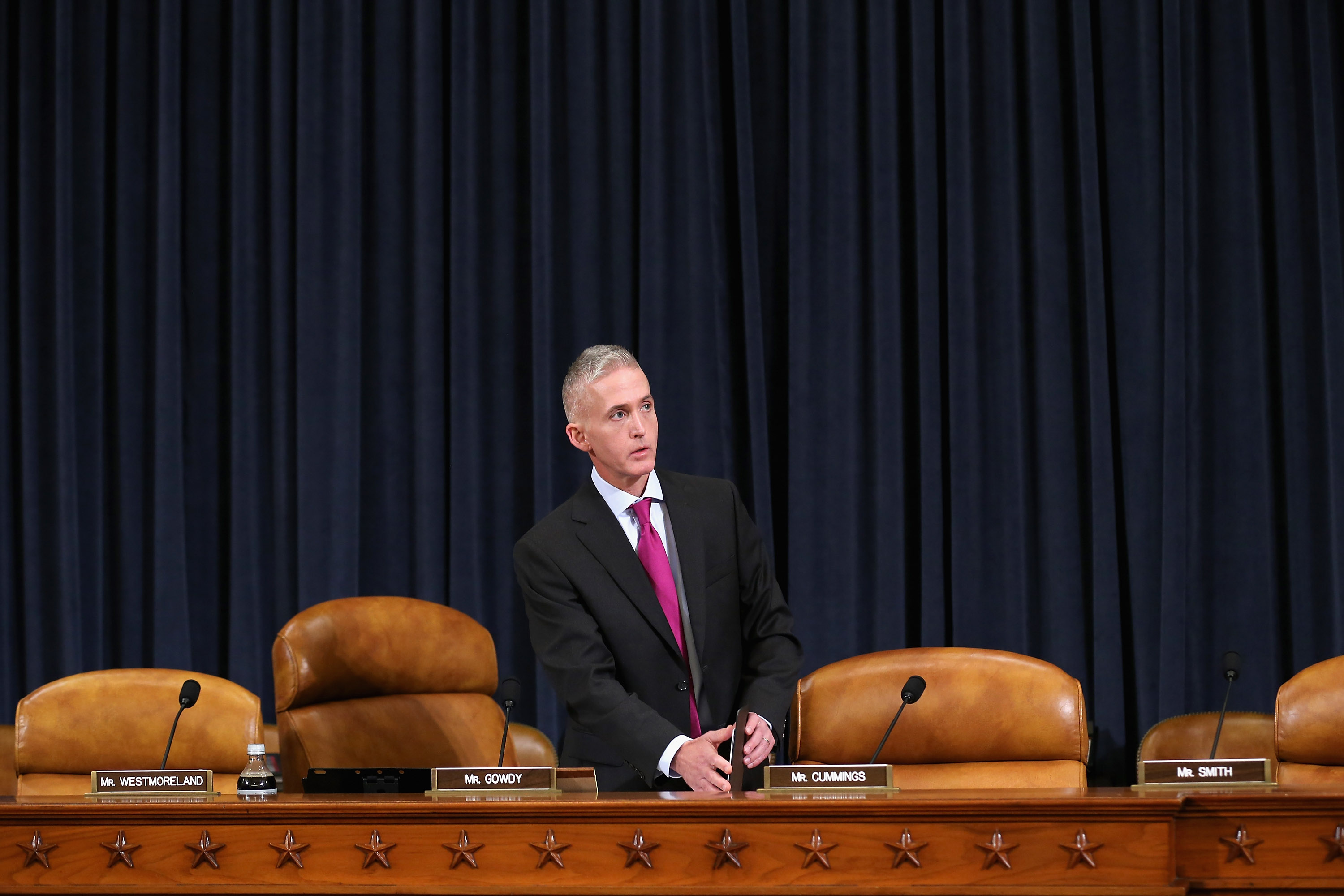 House Select Committee on Benghazi Chairman Rep. Trey Gowdy (R-SC) arrives for a hearing where Democratic presidential candidate and former Secretary of State Hillary Clinton testified October 22, 2015 on Capitol Hill.