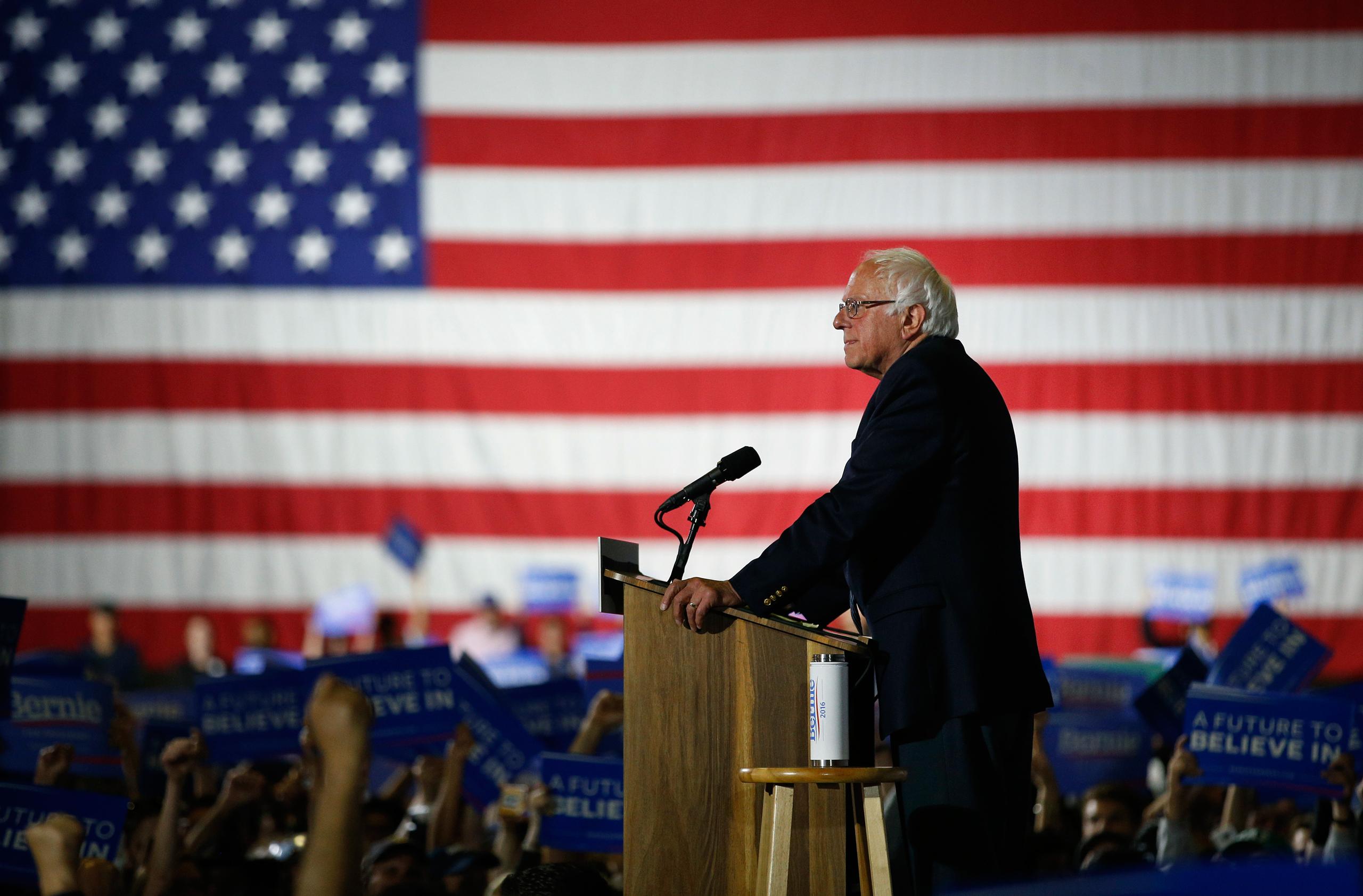 Democratic presidential candidate Sen. Bernie Sanders speaks at a rally in Santa Monica, Calif., on June 7, 2016.