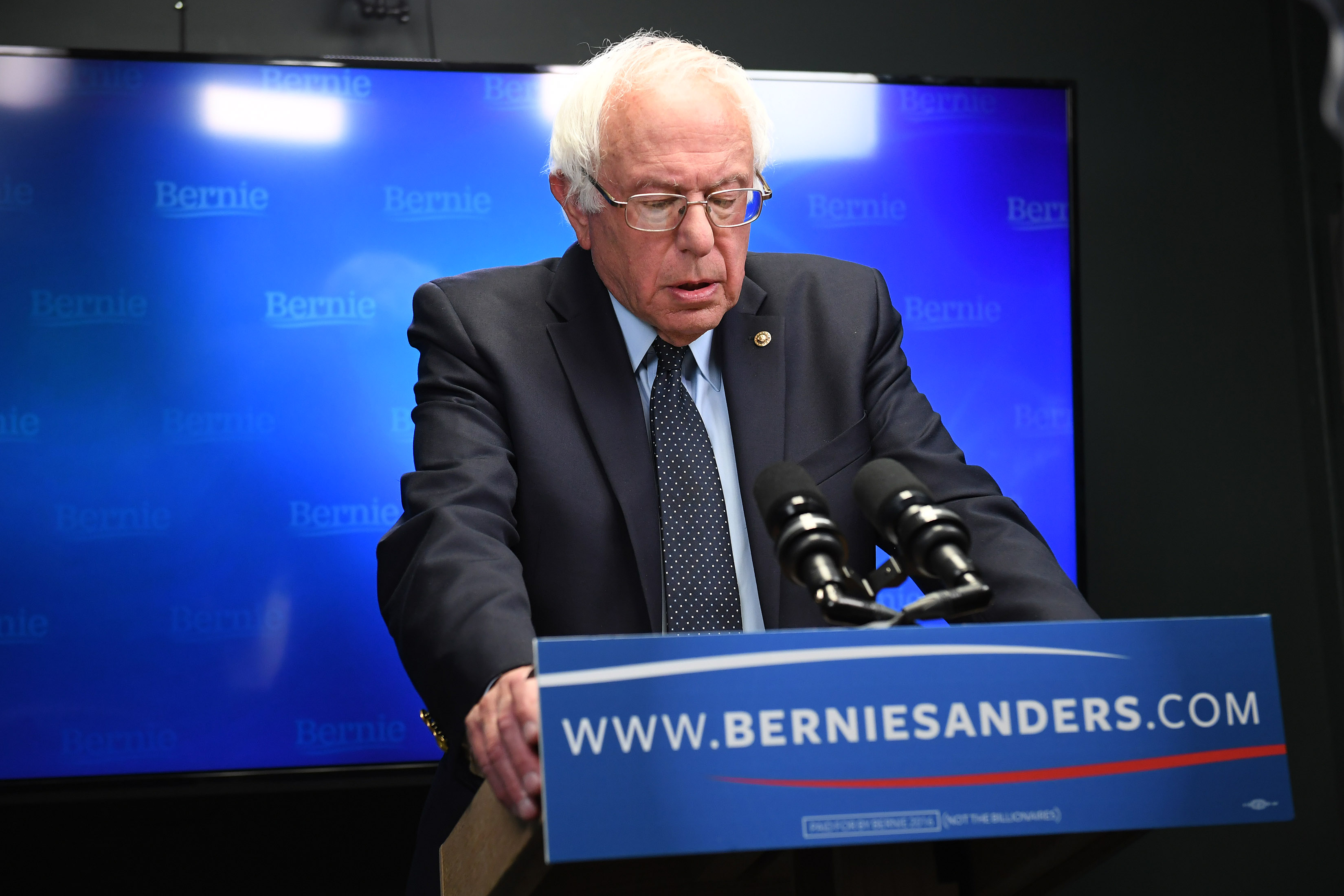 Presidential candidate Bernie Sanders prepares to speak for a video to supporters at Polaris Mediaworks in Burlington, Vt.,  on June 16, 2016.