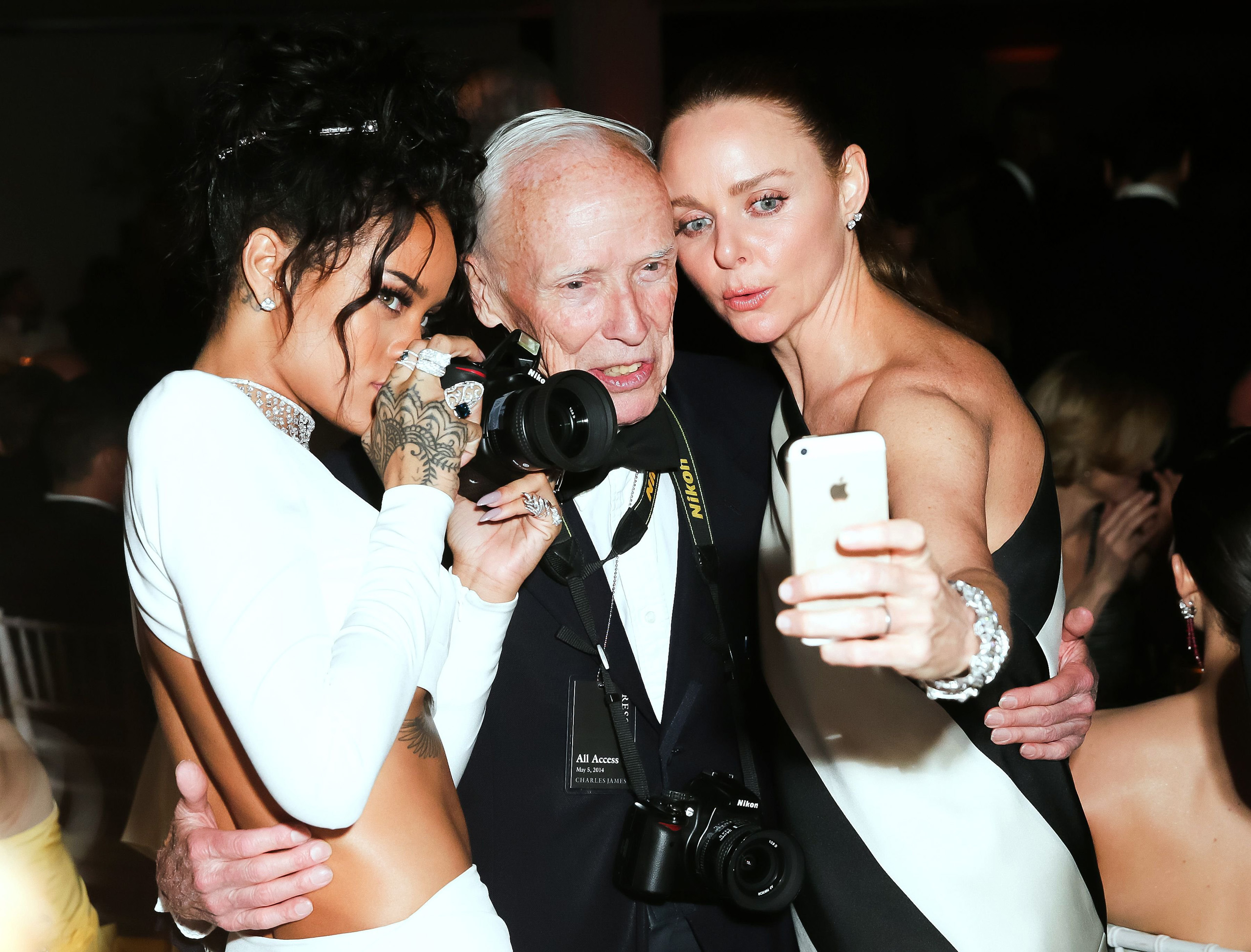 Rihanna, Bill Cunningham, and  Stella McCartney at the Costume Institute Gala Benefit celebrating Charles James: Beyond Fashion - Dinner at the Metropolitan Museum of Art in New York City on May 5, 2014.