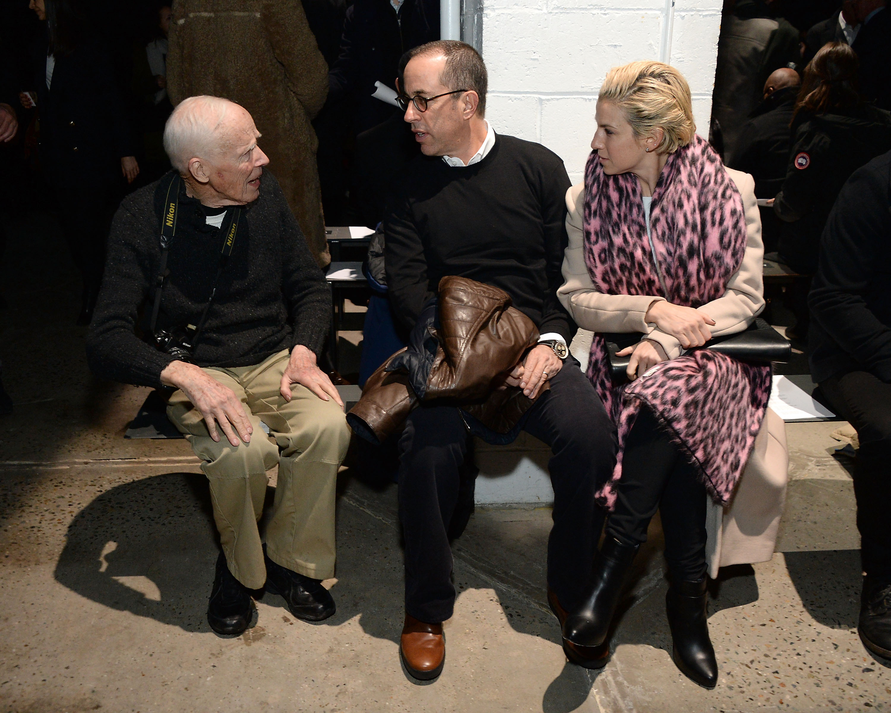 Bill Cunningham, Jerry Seinfeld and Jessica Seinfeld attend the Narciso Rodriguez fashion show during Mercedes-Benz Fashion Week Fall 2015 at SIR Stage37 in New York City on Feb. 17, 2015.