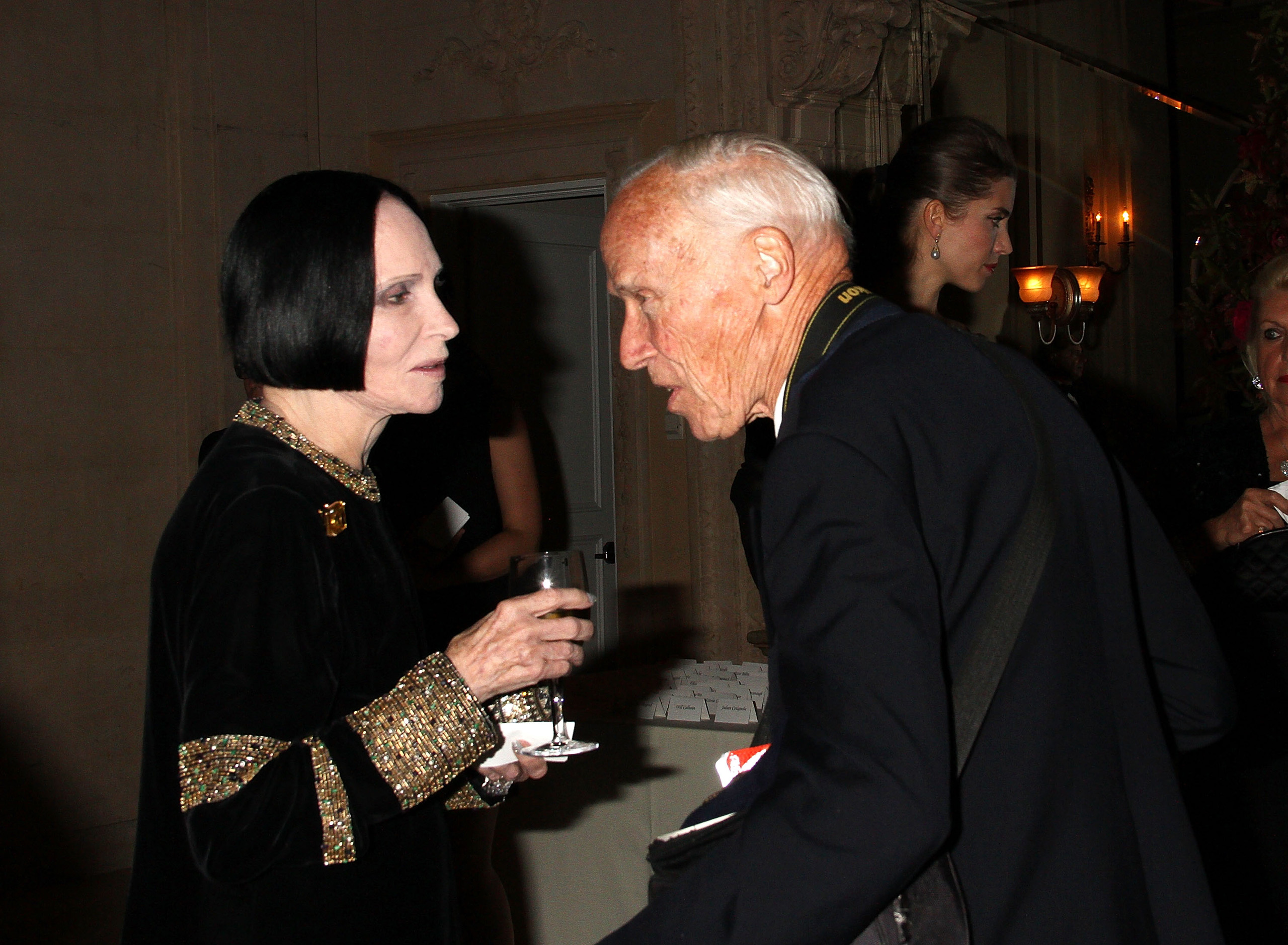 Designer Mary McFadden and New York Times photographer Bill Cunningham attend the Casita Maria Fiesta 2015 at The Plaza Hotel in New York City on Oct. 13, 2015.