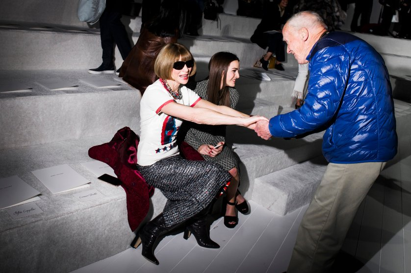 Anna Wintour, Bill Cunningham and Wintour's daughter Bee Shaffer during New York Fashion Week, at the Park Avenue Armory in New York City on Feb. 18, 2016.