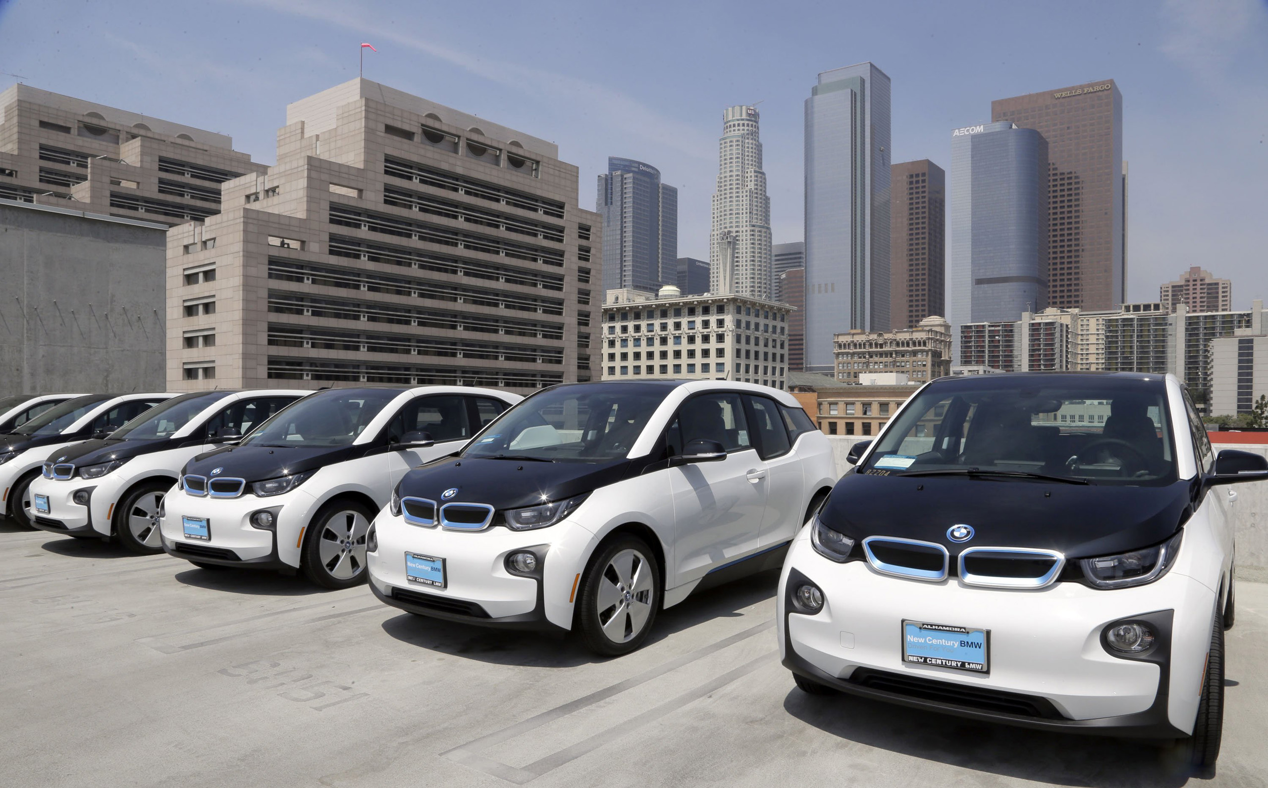 Electric cars are parked atop the Los Angeles Police Department parking lot on June 8, 2016.