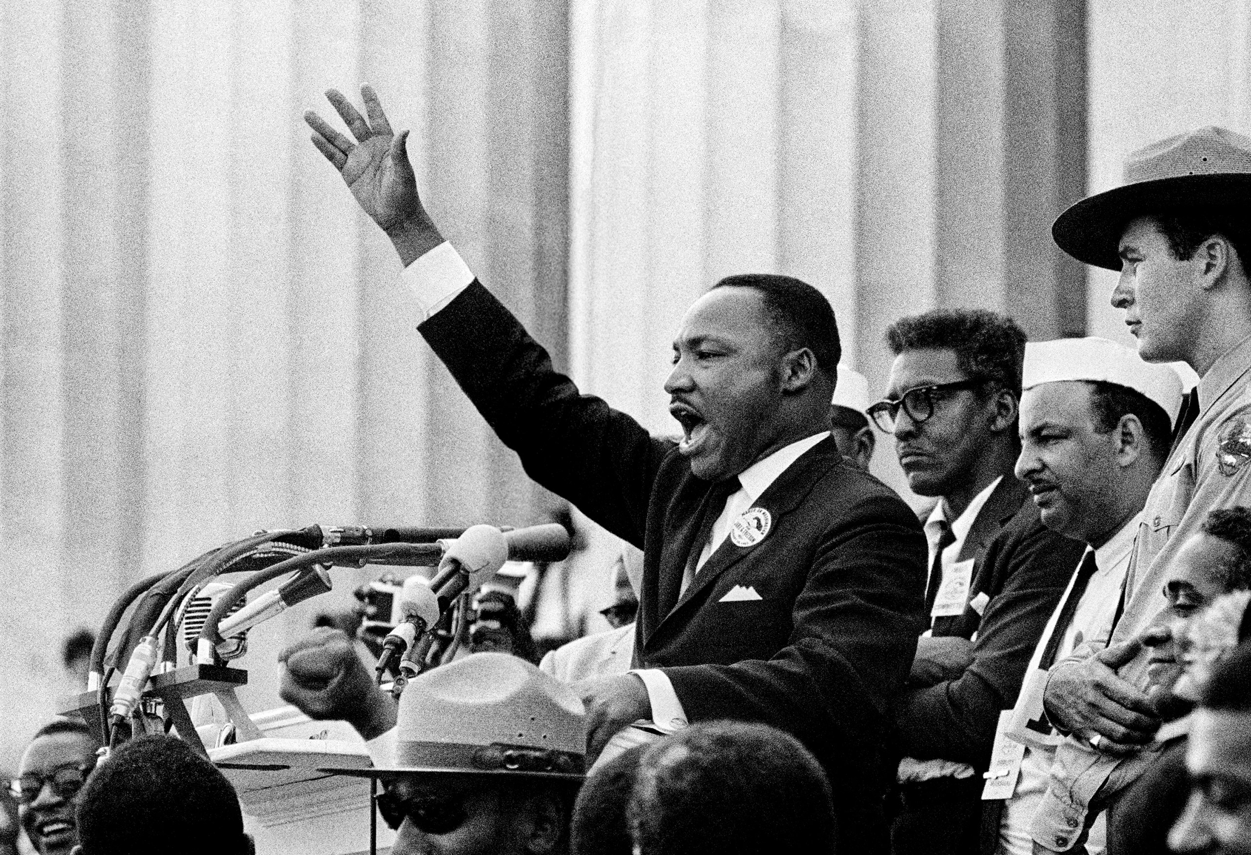 "The Dreamer dreams: King ends his speech with the words of the old Negro spiritual, ""Free at last! Free at last! Thank God Almighty, we are free at last!"" Washington, D.C. 1963"