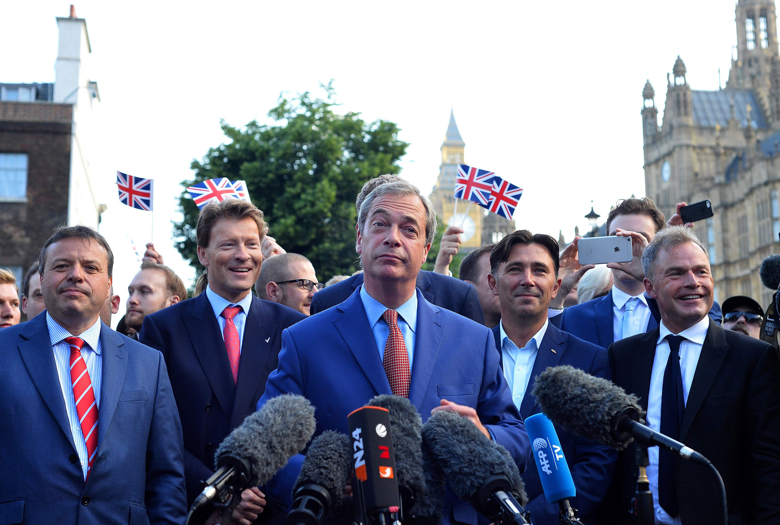 Leader of the United Kingdom Independence Party (UKIP), Nigel Farage, speaks during a press conference after Britain has voted to leave the European Union in central London on June 24, 2016.