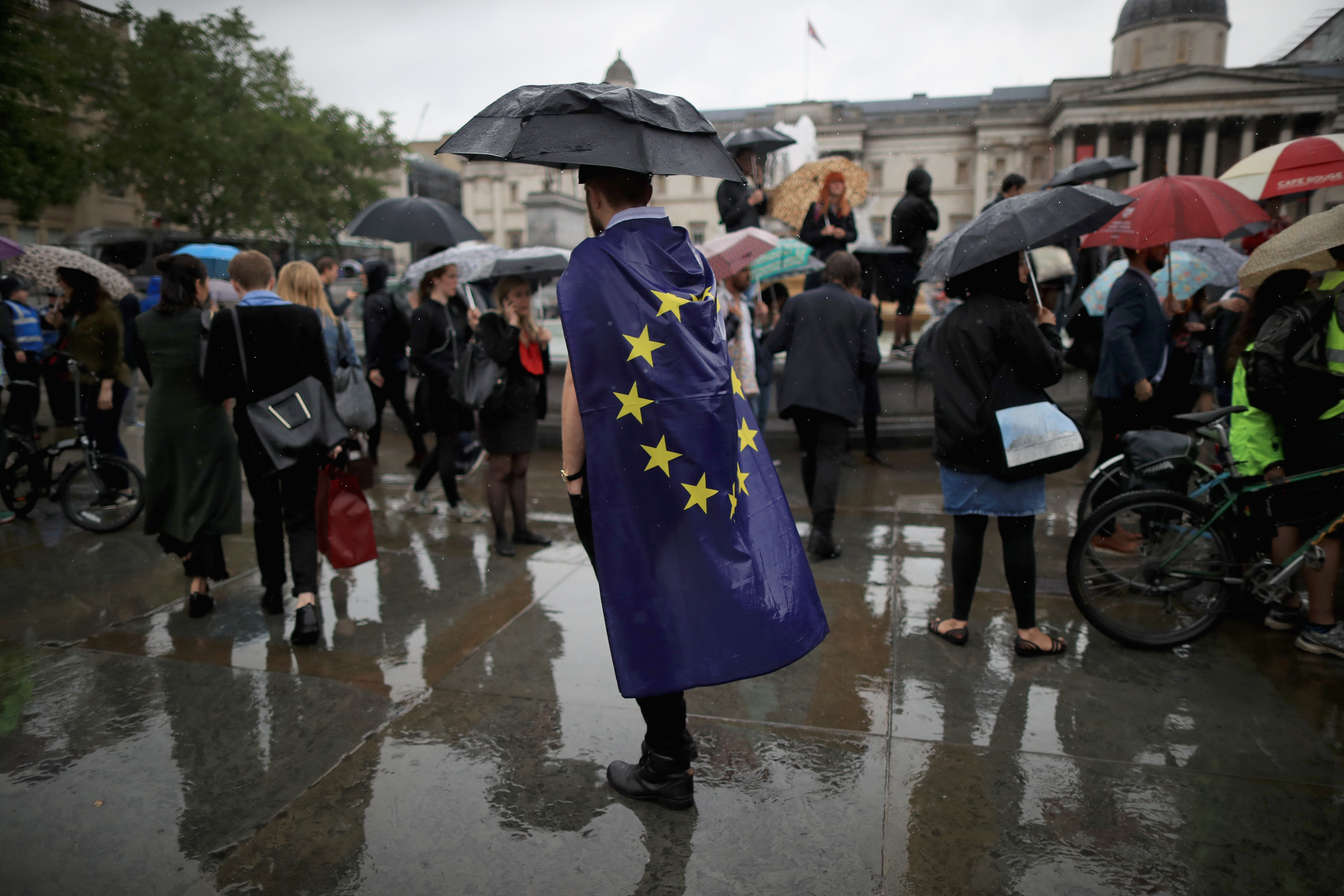 Protesters gather against the EU referendum result in Trafalgar Square on June 28, 2016 in London.